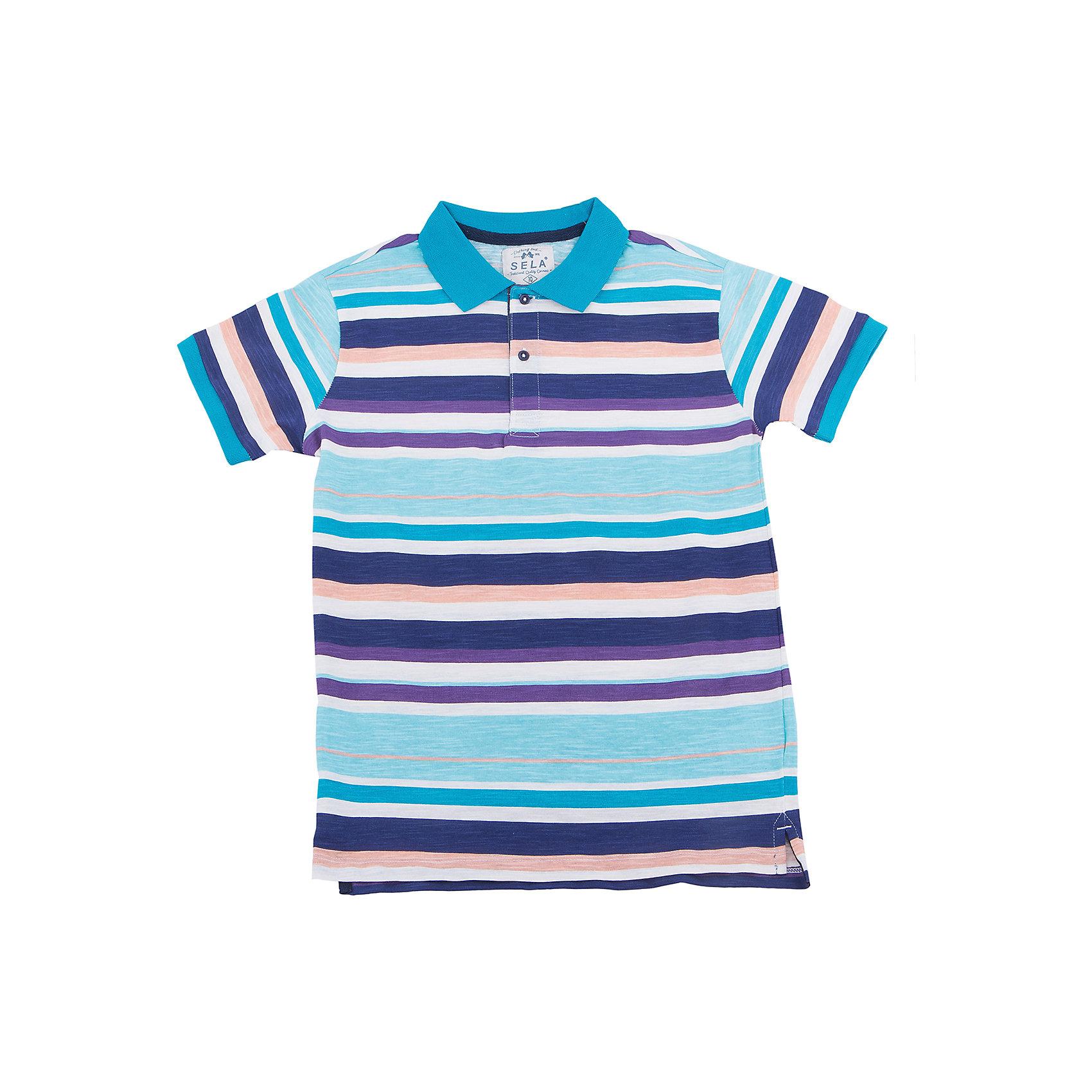 Футболка-поло для мальчика SELAФутболки, поло и топы<br>Характеристики товара:<br><br>• цвет: голубой<br>• состав: 100% хлопок<br>• сезон: лето<br>• рукава короткие<br>• округлый горловой вырез<br>• страна бренда: Россия<br><br>Вещи из новой коллекции SELA продолжают радовать удобством! Эта рубашка для мальчика поможет разнообразить гардероб ребенка и обеспечить комфорт. Она отлично сочетается с шортами и брюками. Стильная и удобная вещь!<br><br>Одежда, обувь и аксессуары от российского бренда SELA не зря пользуются большой популярностью у детей и взрослых! Модели этой марки - стильные и удобные, цена при этом неизменно остается доступной. Для их производства используются только безопасные, качественные материалы и фурнитура. Новая коллекция поддерживает хорошие традиции бренда! <br><br>Рубашку для мальчика от популярного бренда SELA (СЕЛА) можно купить в нашем интернет-магазине.<br><br>Ширина мм: 174<br>Глубина мм: 10<br>Высота мм: 169<br>Вес г: 157<br>Цвет: голубой<br>Возраст от месяцев: 120<br>Возраст до месяцев: 132<br>Пол: Мужской<br>Возраст: Детский<br>Размер: 146,152,122,128,134,140<br>SKU: 5304760