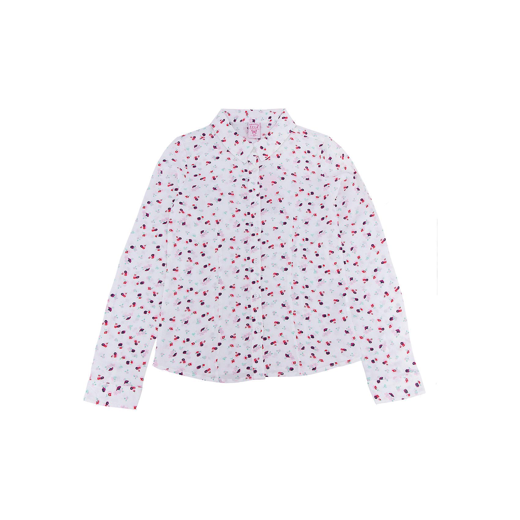 Блуза для девочки SELAБлузки и рубашки<br>Характеристики:<br><br>• Вид детской и подростковой одежды: блузка<br>• Предназначение: повседневная (для школы), праздничная<br>• Сезон: весна-лето<br>• Стиль: романтичный<br>• Тематика рисунка: цветочный<br>• Цвет: белый принт<br>• Материал: вискоза, 100%<br>• Силуэт: полуприталенный<br>• Длина рукава: длинный с манжетом<br>• Воротник: отложной<br>• Застежка: пуговицы на передней планке<br>• Особенности ухода: допускается деликатная стирка без использования красящих и отбеливающих средств, глажение на щадящем режиме<br><br>Блуза для девочки SELA из коллекции детской и подростковой одежды от знаменитого торгового бренда, который производит удобную, комфортную и стильную одежду, предназначенную как для будней, так и для праздников. Блузка для девочки SELA выполнена из 100% вискозы, которая характеризуется повышенными гипоаллергенными свойствами, обладает легким весом, прочностью, не изменяет цвет и форму при длительном использовании и частых стирках. Изделие выполнено в классическом стиле: полуприталенный силуэт, длинный рукав с манжетами и отложной воротничок. Светло-бежевый цвет и мелкий цветочный принт придают изделию романтическую нотку. Блузка для девочки SELA может быть в качестве базовой вещи в гардеробе девочки, прекрасно будет сочетаться с однотонным строгим пиджаком.<br><br>Блузу для девочки SELA можно купить в нашем интернет-магазине.<br><br>Ширина мм: 186<br>Глубина мм: 87<br>Высота мм: 198<br>Вес г: 197<br>Цвет: бежевый<br>Возраст от месяцев: 108<br>Возраст до месяцев: 120<br>Пол: Женский<br>Возраст: Детский<br>Размер: 140,134,128,122,152,146<br>SKU: 5305000
