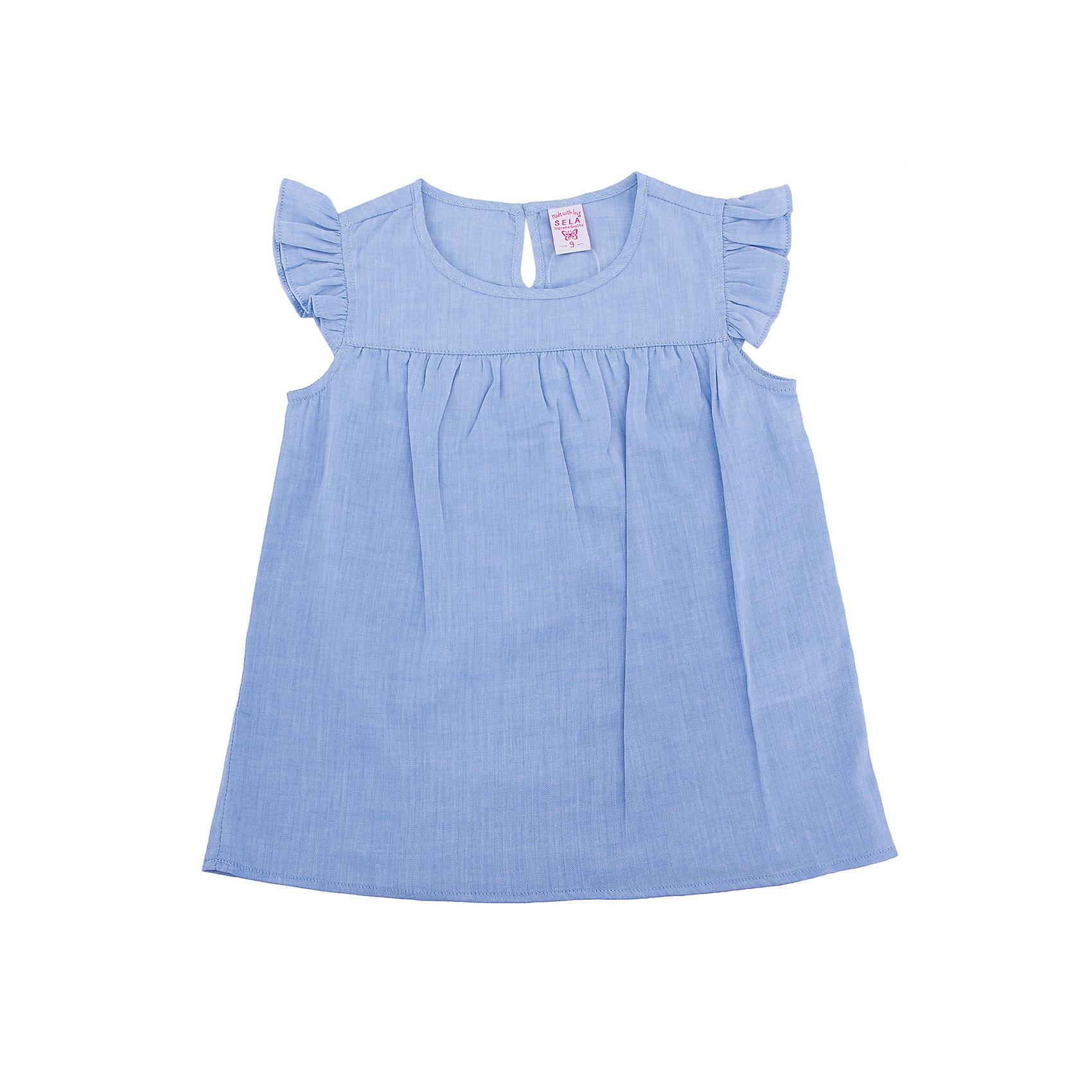 Блузка для девочки SELAБлузки и рубашки<br>Характеристики товара:<br><br>• цвет: голубой<br>• сезон: лето<br>• состав: 100% хлопок<br>• застежка-пуговица<br>• комфортная посадка<br>• рукава-крылышки<br>• легкий материал<br>• страна бренда: Россия<br><br>Вещи из новой коллекции SELA продолжают радовать удобством! Эта блузка для девочки поможет разнообразить гардероб ребенка и обеспечить комфорт. Она отлично сочетается с юбками и брюками. Стильная и удобная вещь!<br><br>Одежда, обувь и аксессуары от российского бренда SELA не зря пользуются большой популярностью у детей и взрослых! Модели этой марки - стильные и удобные, цена при этом неизменно остается доступной. Для их производства используются только безопасные, качественные материалы и фурнитура. Новая коллекция поддерживает хорошие традиции бренда! <br><br>Блузку для девочки от популярного бренда SELA (СЕЛА) можно купить в нашем интернет-магазине.<br><br>Ширина мм: 186<br>Глубина мм: 87<br>Высота мм: 198<br>Вес г: 197<br>Цвет: голубой<br>Возраст от месяцев: 96<br>Возраст до месяцев: 108<br>Пол: Женский<br>Возраст: Детский<br>Размер: 134,140,146,152,122,128<br>SKU: 5305046