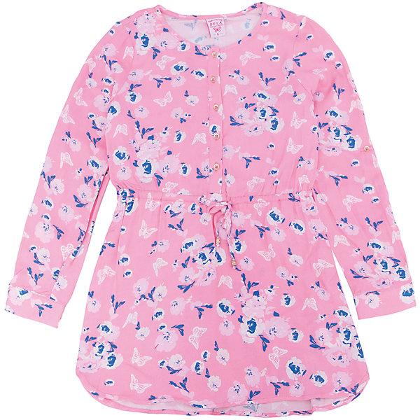 Платье для девочки SELAПлатья и сарафаны<br>Характеристики товара:<br><br>• цвет: розовый<br>• состав: 100% вискоза<br>• декорировано цветочным принтом<br>• приталенное<br>• длинные рукава<br>• застёгивается на пуговицы<br>• коллекция весна-лето 2017<br>• страна бренда: Российская Федерация<br>• страна изготовитель: Китай<br><br>В новой коллекции SELA отличные модели одежды! Это платье для девочки поможет разнообразить гардероб ребенка и обеспечить комфорт. Оно отлично сочетается с различной обувью. Стильная и удобная вещь!<br><br>Одежда, обувь и аксессуары от российского бренда SELA не зря пользуются большой популярностью у детей и взрослых! Модели этой марки - стильные и удобные, цена при этом неизменно остается доступной. Для их производства используются только безопасные, качественные материалы и фурнитура. Новая коллекция поддерживает хорошие традиции бренда! <br><br>Платье для девочки от популярного бренда SELA (СЕЛА) можно купить в нашем интернет-магазине.<br>Ширина мм: 236; Глубина мм: 16; Высота мм: 184; Вес г: 177; Цвет: розовый; Возраст от месяцев: 108; Возраст до месяцев: 120; Пол: Женский; Возраст: Детский; Размер: 140,134,128,122,116,152,146; SKU: 5305241;