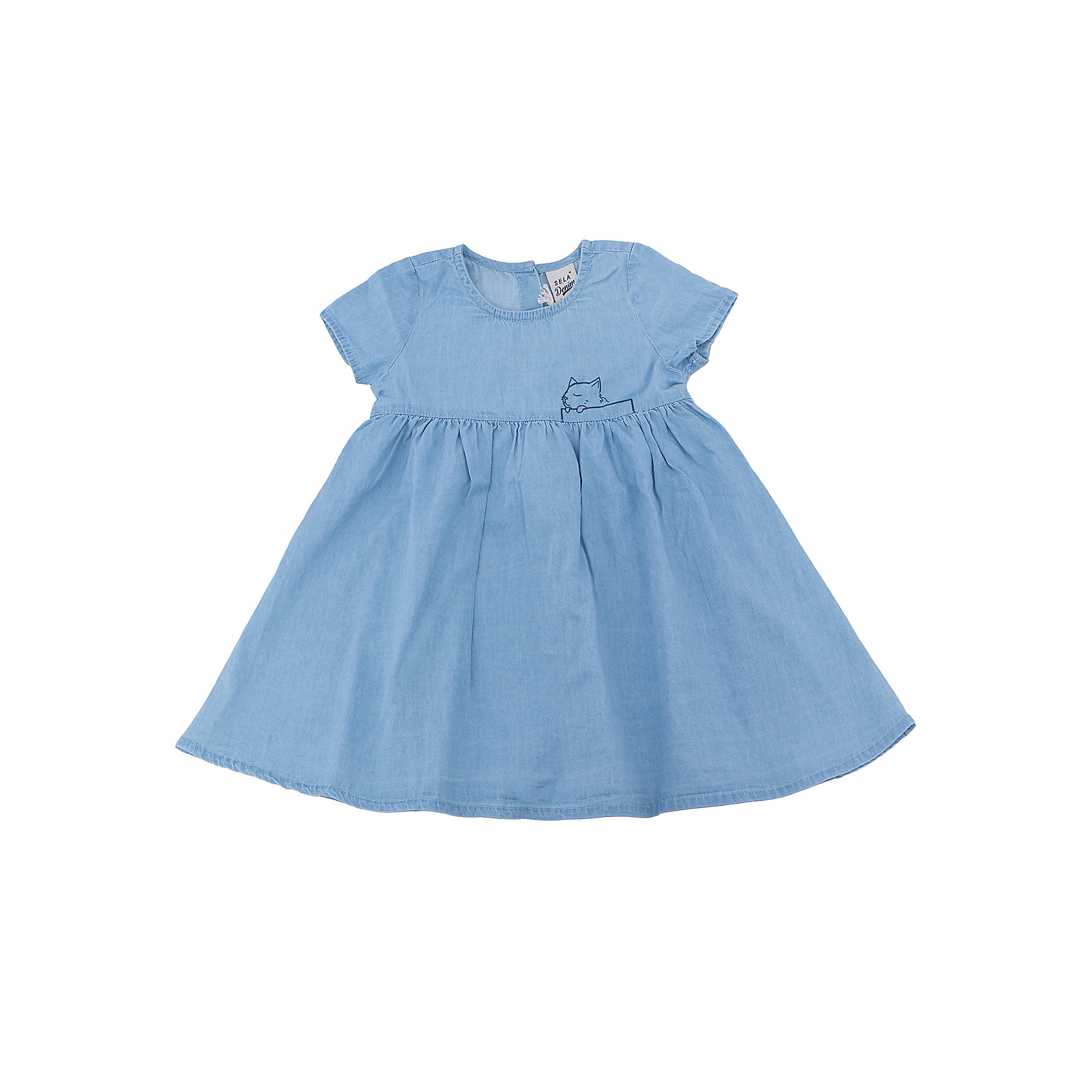 Платье для девочки SELAПлатья и сарафаны<br>Характеристики товара:<br><br>• цвет: голубой<br>• сезон: лето<br>• состав: 100% хлопок<br>• длина выше колена<br>• корткие рукава<br>• страна бренда: Россия<br><br>В новой коллекции SELA отличные модели одежды! Это платье для девочки поможет разнообразить гардероб ребенка и обеспечить комфорт. Оно отлично сочетается с различной обувью.<br><br>Одежда, обувь и аксессуары от российского бренда SELA не зря пользуются большой популярностью у детей и взрослых! Модели этой марки - стильные и удобные, цена при этом неизменно остается доступной. Для их производства используются только безопасные, качественные материалы и фурнитура.<br><br>Платье для девочки от популярного бренда SELA (СЕЛА) можно купить в нашем интернет-магазине.<br><br>Ширина мм: 236<br>Глубина мм: 16<br>Высота мм: 184<br>Вес г: 177<br>Цвет: голубой<br>Возраст от месяцев: 60<br>Возраст до месяцев: 72<br>Пол: Женский<br>Возраст: Детский<br>Размер: 116,92,98,104,110<br>SKU: 5305268