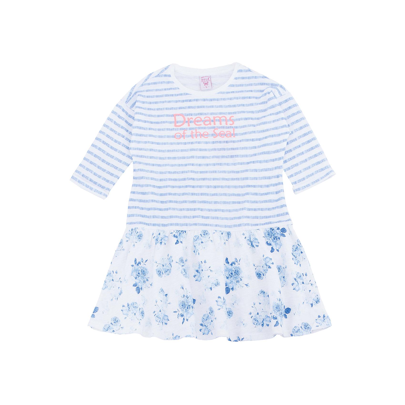Платье для девочки SELAПлатья и сарафаны<br>Характеристики товара:<br><br>• цвет: белый, голубой, в полоску <br>• сезон: лето<br>• состав: 100% хлопок<br>• принт<br>• длина выше колена<br>• рукава 3/4 <br>• комфортная посадка<br>• страна бренда: Россия<br><br>В новой коллекции SELA отличные модели одежды! Это платье для девочки поможет разнообразить гардероб ребенка и обеспечить комфорт. Оно отлично сочетается с босоножками или туфельками. <br><br>Одежда, обувь и аксессуары от российского бренда SELA не зря пользуются большой популярностью у детей и взрослых.<br><br>Платье для девочки от популярного бренда SELA (СЕЛА) можно купить в нашем интернет-магазине.<br><br>Ширина мм: 236<br>Глубина мм: 16<br>Высота мм: 184<br>Вес г: 177<br>Цвет: белый<br>Возраст от месяцев: 48<br>Возраст до месяцев: 60<br>Пол: Женский<br>Возраст: Детский<br>Размер: 110,116,104,98,92<br>SKU: 5305298