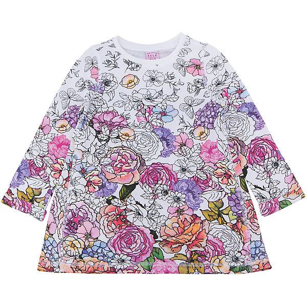Платье для девочки SELAПлатья и сарафаны<br>Характеристики товара:<br><br>• цвет: розовый, мульти<br>• сезон: лето<br>• состав: 70% вискоза, 30% ПЭ<br>• декорировано принтом<br>• выше колена<br>• длинные рукава<br>• страна бренда: Россия<br><br>В новой коллекции SELA отличные модели одежды! Это платье для девочки поможет разнообразить гардероб ребенка и обеспечить комфорт. Оно отлично сочетается с различной обувью.<br><br>Одежда, обувь и аксессуары от российского бренда SELA не зря пользуются большой популярностью у детей и взрослых! Модели этой марки - стильные и удобные, цена при этом неизменно остается доступной. Для их производства используются только безопасные, качественные материалы и фурнитура. Новая коллекция поддерживает хорошие традиции бренда! <br><br>Платье для девочки от популярного бренда SELA (СЕЛА) можно купить в нашем интернет-магазине.<br><br>Ширина мм: 236<br>Глубина мм: 16<br>Высота мм: 184<br>Вес г: 177<br>Цвет: белый<br>Возраст от месяцев: 24<br>Возраст до месяцев: 36<br>Пол: Женский<br>Возраст: Детский<br>Размер: 98,92,116,110,104<br>SKU: 5305304