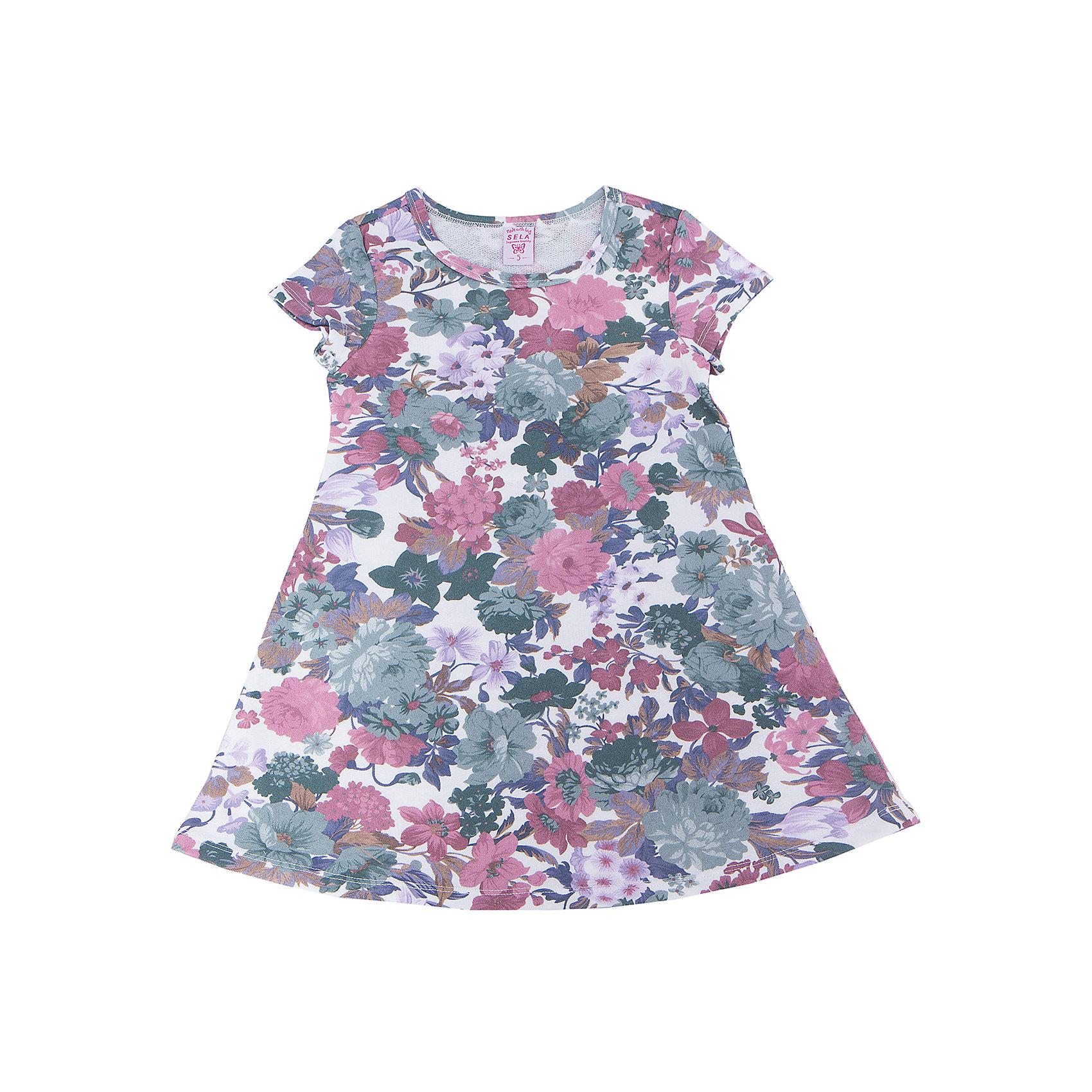 Платье для девочки SELAПлатья и сарафаны<br>Характеристики:<br><br>• Вид детской и подростковой одежды: платье<br>• Пол: для девочки<br>• Предназначение: повседневная, праздничная<br>• Сезон: лето<br>• Тематика рисунка: цветочный принт<br>• Цвет: мультиколор<br>• Материал: 65% хлопок, 35% полиэстер<br>• Силуэт: А-силуэт<br>• Рукав: короткий<br>• Горловина: круглая<br>• Длина платья: мини<br>• Особенности ухода: ручная стирка при температуре не более 30 градусов, глажение на щадящем режиме<br><br>Платье для девочки SELA из коллекции детской и подростковой одежды от знаменитого торгового бренда, который производит удобную, комфортную и стильную одежду, предназначенную как для будней, так и для праздников. Изделие выполнено из легкого трикотажного полотна, в состав которого входит хлопок и полиэстер, что обеспечивает платью повышенные гипоаллергенные и гигроскопичные свойства. Платье выполнено в классическом стиле: А-силуэт, короткий втачной рукав и круглая горловина. Изделие выполнено из ткани в крупный цветочный принт. Платье для девочки SELA может быть как самостоятельным предметом гардероба, так и хорошо будет сочетаться с леггинсами.<br><br>Платье для девочки SELA можно купить в нашем интернет-магазине.<br><br>Ширина мм: 236<br>Глубина мм: 16<br>Высота мм: 184<br>Вес г: 177<br>Цвет: разноцветный<br>Возраст от месяцев: 24<br>Возраст до месяцев: 36<br>Пол: Женский<br>Возраст: Детский<br>Размер: 110,104,116,98<br>SKU: 5305340
