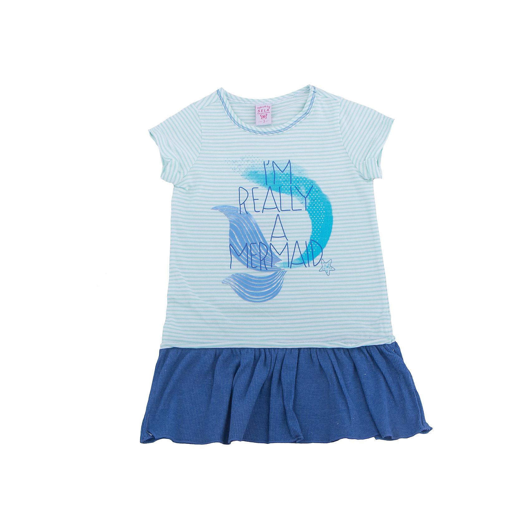Платье для девочки SELAПлатья и сарафаны<br>Характеристики товара:<br><br>• цвет: голубой<br>• сезон: лето<br>• состав: 100% хлопок<br>• принт<br>• длина выше колена<br>• корткие рукава<br>• страна бренда: Россия<br><br>В новой коллекции SELA отличные модели одежды! Это платье для девочки поможет разнообразить гардероб ребенка и обеспечить комфорт. Оно отлично сочетается с различной обувью.<br><br>Одежда, обувь и аксессуары от российского бренда SELA не зря пользуются большой популярностью у детей и взрослых!<br><br>Платье для девочки от популярного бренда SELA (СЕЛА) можно купить в нашем интернет-магазине.<br><br>Ширина мм: 236<br>Глубина мм: 16<br>Высота мм: 184<br>Вес г: 177<br>Цвет: молочный<br>Возраст от месяцев: 60<br>Возраст до месяцев: 72<br>Пол: Женский<br>Возраст: Детский<br>Размер: 116,98,104,110<br>SKU: 5305356