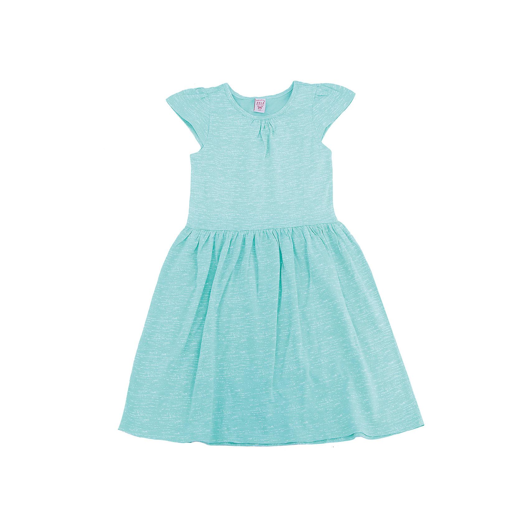 Платье для девочки SELAПлатья и сарафаны<br>Характеристики товара:<br><br>• цвет: бирюзовый<br>• сезон: лето<br>• состав: 100% хлопок<br>• силуэт полуприлегающий<br>• длина выше колена<br>• корткие рукава<br>• комфортная посадка<br>• страна бренда: Россия<br><br>Платье для девочки из хлопка позволит телу дышать и комфортно себя чувствоватиь во время прогулок.  Оно отлично сочетается с босоножками, сандалями или туфельками. Стильная и удобная вещь!<br><br>Одежда, обувь и аксессуары от российского бренда SELA не зря пользуются большой популярностью у детей и взрослых!<br><br>Платье для девочки от популярного бренда SELA (СЕЛА) можно купить в нашем интернет-магазине.<br><br>Ширина мм: 236<br>Глубина мм: 16<br>Высота мм: 184<br>Вес г: 177<br>Цвет: разноцветный<br>Возраст от месяцев: 108<br>Возраст до месяцев: 120<br>Пол: Женский<br>Возраст: Детский<br>Размер: 140,146,152,122,128,134<br>SKU: 5305399