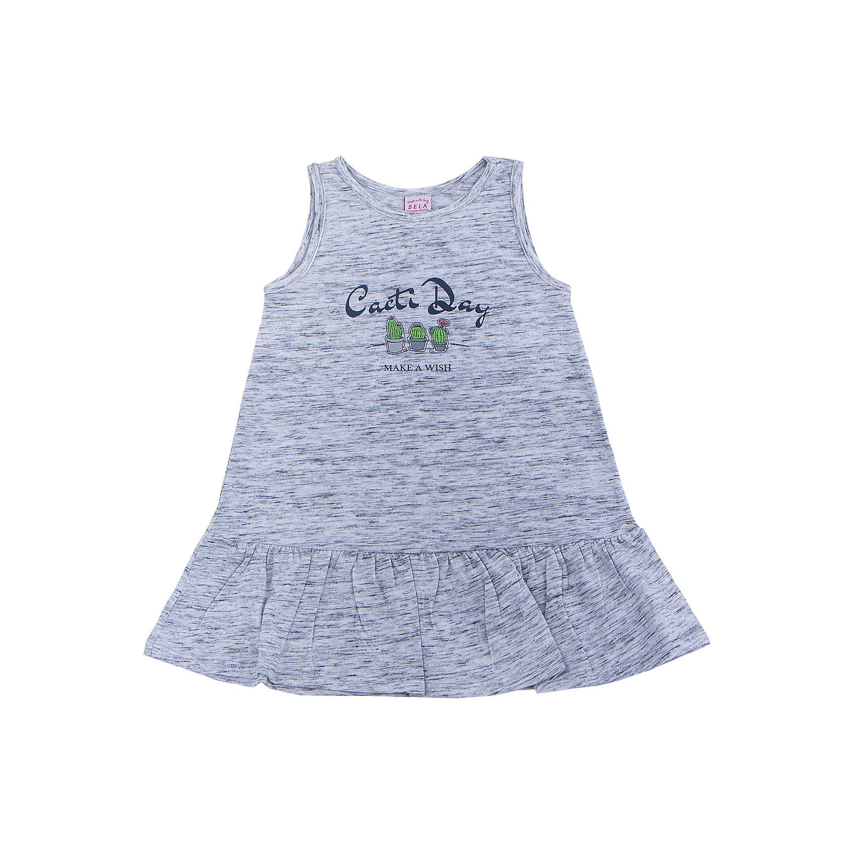 Платье для девочки SELAПлатья и сарафаны<br>Характеристики товара:<br><br>• цвет: светло-серый<br>• сезон: лето<br>• состав: 60% хлопок, 40% ПЭ<br>• силуэт расширенный к низу<br>• длина выше колена<br>• принт<br>• комфортная посадка<br>• страна бренда: Россия<br><br>Платье для девочки поможет разнообразить гардероб ребенка и обеспечить комфорт. Оно отлично сочетается с сандалями или кедами. <br><br>Одежда, обувь и аксессуары от российского бренда SELA не зря пользуются большой популярностью у детей и взрослых! Модели этой марки - стильные и удобные, цена при этом неизменно остается доступной. <br><br>Для их производства используются только безопасные, качественные материалы и фурнитура. Новая коллекция поддерживает хорошие традиции бренда! <br><br>Платье для девочки от популярного бренда SELA (СЕЛА) можно купить в нашем интернет-магазине.<br><br>Ширина мм: 236<br>Глубина мм: 16<br>Высота мм: 184<br>Вес г: 177<br>Цвет: серый<br>Возраст от месяцев: 24<br>Возраст до месяцев: 36<br>Пол: Женский<br>Возраст: Детский<br>Размер: 98,116,110,104<br>SKU: 5305406