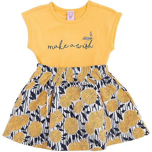 Платье для девочки SELAПлатья и сарафаны<br>Характеристики товара:<br><br>• цвет: светло-жёлтый<br>• состав: 100% хлопок<br>• сезон: лето<br>• принт<br>• длина выше колена<br>• корткие рукава<br>• страна бренда: Россия<br><br>Платье для девочки поможет разнообразить гардероб ребенка и обеспечить комфорт.  Оно отлично сочетается с босоножками, сандалями или туфельками. Стильная и удобная вещь!<br><br>Одежда, обувь и аксессуары от российского бренда SELA не зря пользуются большой популярностью у детей и взрослых!<br><br>Платье для девочки от популярного бренда SELA (СЕЛА) можно купить в нашем интернет-магазине.<br><br>Ширина мм: 236<br>Глубина мм: 16<br>Высота мм: 184<br>Вес г: 177<br>Цвет: желтый<br>Возраст от месяцев: 18<br>Возраст до месяцев: 24<br>Пол: Женский<br>Возраст: Детский<br>Размер: 92,116,110,104,98<br>SKU: 5305442