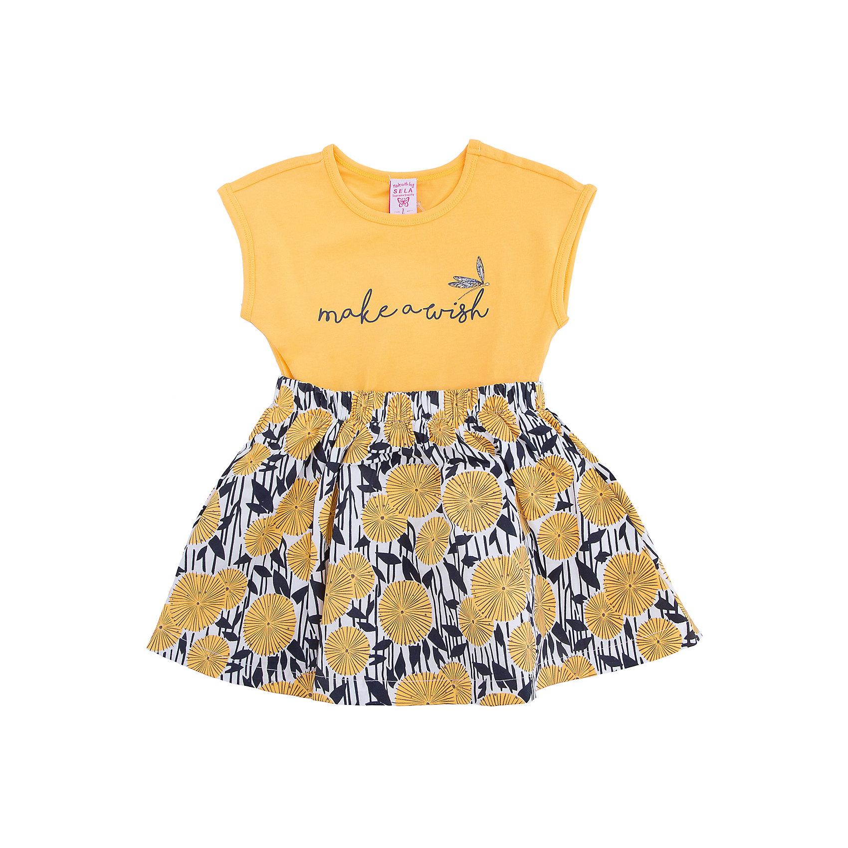 Платье для девочки SELAПлатья и сарафаны<br>Платье для девочки от известного бренда SELA<br>Состав:<br>95% хлопок, 5% эластан-верх; 100% хлопок-низ<br><br>Ширина мм: 236<br>Глубина мм: 16<br>Высота мм: 184<br>Вес г: 177<br>Цвет: желтый<br>Возраст от месяцев: 60<br>Возраст до месяцев: 72<br>Пол: Женский<br>Возраст: Детский<br>Размер: 92,116,98,104,110<br>SKU: 5305442