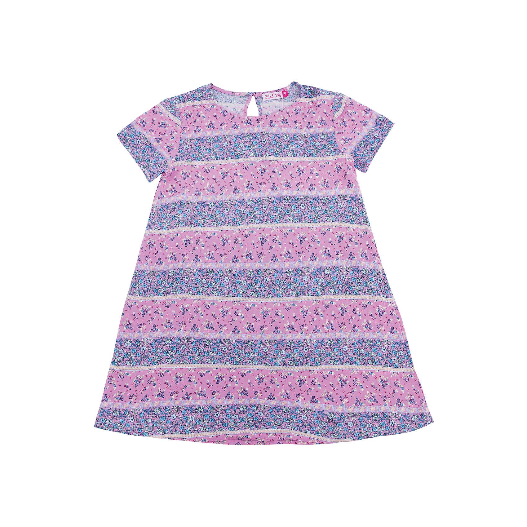 Платье для девочки SELAПлатья и сарафаны<br>Характеристики товара:<br><br>• цвет: лиловый<br>• состав: 100% вискоза<br>• сезон: лето<br>• принт<br>• длина выше колена<br>• корткие рукава<br>• страна бренда: Россия<br><br>Платье для девочки поможет разнообразить гардероб ребенка и обеспечить комфорт.  Оно отлично сочетается с босоножками, сандалями или туфельками. Стильная и удобная вещь!<br><br>Одежда, обувь и аксессуары от российского бренда SELA не зря пользуются большой популярностью у детей и взрослых!<br><br>Платье для девочки от популярного бренда SELA (СЕЛА) можно купить в нашем интернет-магазине.<br><br>Ширина мм: 236<br>Глубина мм: 16<br>Высота мм: 184<br>Вес г: 177<br>Цвет: фиолетовый<br>Возраст от месяцев: 96<br>Возраст до месяцев: 108<br>Пол: Женский<br>Возраст: Детский<br>Размер: 140,146,152,122,128,134<br>SKU: 5305455