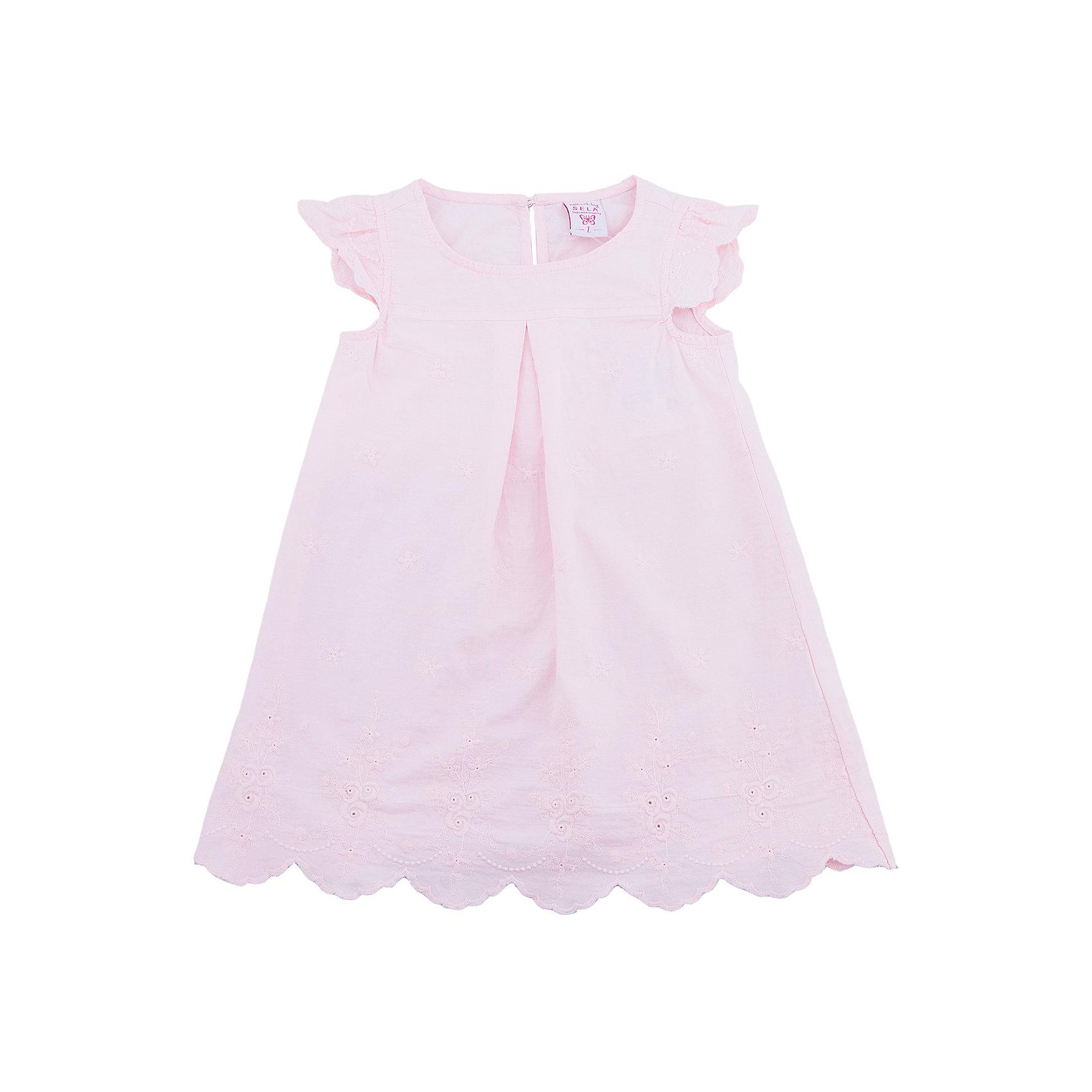 Платье для девочки SELAПлатья и сарафаны<br>Характеристики товара:<br><br>• цвет: лиловый<br>• состав: 100% хлопок<br>• ажурная отделка<br>• сезон: лето<br>• длина выше колена<br>• корткие рукава<br>• страна бренда: Россия<br><br>Платье для девочки поможет разнообразить гардероб ребенка и обеспечить комфорт.  Оно отлично сочетается с босоножками, сандалями или туфельками. Стильная и удобная вещь!<br><br>Одежда, обувь и аксессуары от российского бренда SELA не зря пользуются большой популярностью у детей и взрослых!<br><br>Платье для девочки от популярного бренда SELA (СЕЛА) можно купить в нашем интернет-магазине.<br><br>Платье для девочки от популярного бренда SELA (СЕЛА) можно купить в нашем интернет-магазине.<br><br>Ширина мм: 236<br>Глубина мм: 16<br>Высота мм: 184<br>Вес г: 177<br>Цвет: розовый<br>Возраст от месяцев: 60<br>Возраст до месяцев: 72<br>Пол: Женский<br>Возраст: Детский<br>Размер: 116,92,98,104,110<br>SKU: 5305467