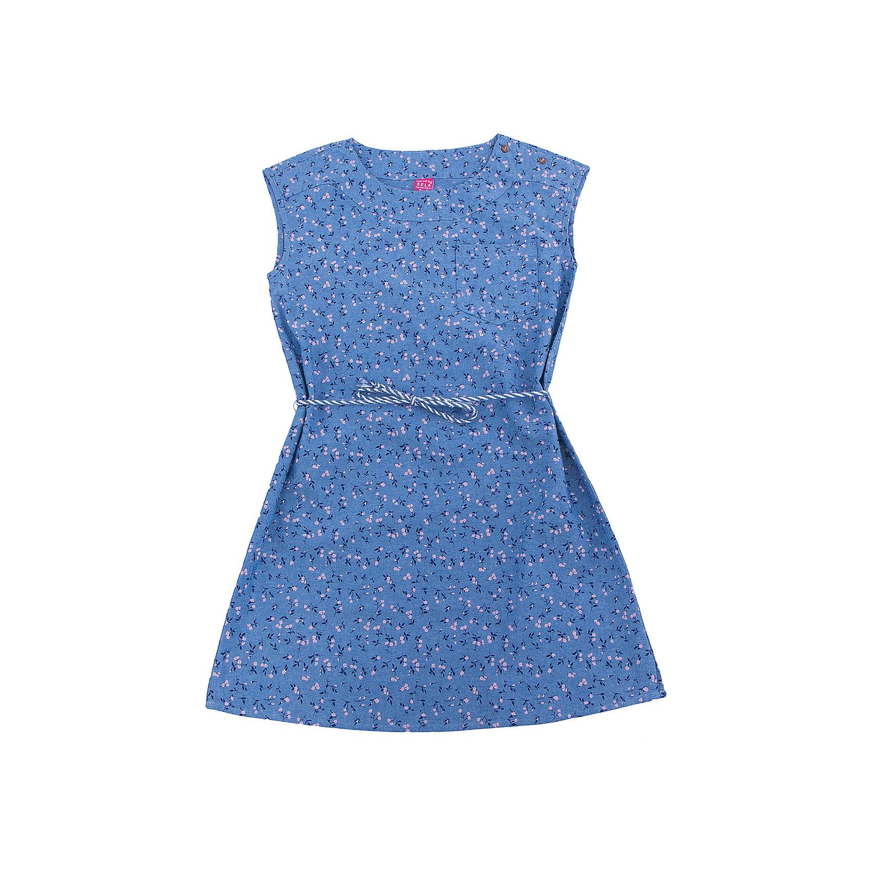 Платье для девочки SELAПлатья и сарафаны<br>Характеристики товара:<br><br>• цвет: синий джинс<br>• состав: 100% хлопок<br>• без рукавов<br>• сезон: лето<br>• принт<br>• длина выше колена<br>• корткие рукава<br>• страна бренда: Россия<br><br>Платье для девочки поможет разнообразить гардероб ребенка и обеспечить комфорт.  Оно отлично сочетается с босоножками, сандалями или туфельками. Стильная и удобная вещь!<br><br>Одежда, обувь и аксессуары от российского бренда SELA не зря пользуются большой популярностью у детей и взрослых!<br><br>Платье для девочки от популярного бренда SELA (СЕЛА) можно купить в нашем интернет-магазине.<br><br>Ширина мм: 236<br>Глубина мм: 16<br>Высота мм: 184<br>Вес г: 177<br>Цвет: синий<br>Возраст от месяцев: 108<br>Возраст до месяцев: 120<br>Пол: Женский<br>Возраст: Детский<br>Размер: 140,128,146,152,122,134<br>SKU: 5305473