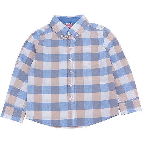 Рубашка для мальчика SELAБлузки и рубашки<br>Характеристики товара:<br><br>• цвет: голубой/бежевый<br>• состав: 100% хлопок<br>• силуэт прямой<br>• пуговицы<br>• длинные рукава с опций подгибки<br>• воротник баттен-даун<br>• карманы<br>• коллекция весна-лето 2017<br>• страна бренда: Российская Федерация<br>• страна изготовитель: Китай<br><br>Вещи из новой коллекции SELA продолжают радовать удобством! Модная рубашка для мальчика поможет разнообразить гардероб ребенка и обеспечить комфорт. Она отлично сочетается с джинсами и брюками. Очень стильно смотрится!<br><br>Одежда, обувь и аксессуары от российского бренда SELA не зря пользуются большой популярностью у детей и взрослых! Модели этой марки - стильные и удобные, цена при этом неизменно остается доступной. Для их производства используются только безопасные, качественные материалы и фурнитура. Новая коллекция поддерживает хорошие традиции бренда! <br><br>Рубашку для мальчика от популярного бренда SELA (СЕЛА) можно купить в нашем интернет-магазине.<br>Ширина мм: 174; Глубина мм: 10; Высота мм: 169; Вес г: 157; Цвет: синий; Возраст от месяцев: 18; Возраст до месяцев: 24; Пол: Мужской; Возраст: Детский; Размер: 92,116,110,104,98; SKU: 5305487;