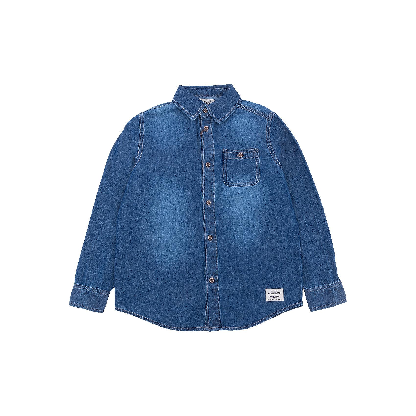 Рубашка джинсовая для мальчика SELAДжинсовая одежда<br>Характеристики товара:<br><br>• цвет: синий<br>• состав: 100% хлопок<br>• пуговицы<br>• длинные рукава<br>• отложной воротник<br>• карманы<br>• страна бренда: Российская Федерация<br><br>Вещи из новой коллекции SELA продолжают радовать удобством! Модная рубашка для мальчика поможет разнообразить гардероб ребенка и обеспечить комфорт. Она отлично сочетается с джинсами и брюками. Очень стильно смотрится!<br><br>Рубашку для мальчика от популярного бренда SELA (СЕЛА) можно купить в нашем интернет-магазине.<br><br>Ширина мм: 174<br>Глубина мм: 10<br>Высота мм: 169<br>Вес г: 157<br>Цвет: синий деним<br>Возраст от месяцев: 84<br>Возраст до месяцев: 96<br>Пол: Мужской<br>Возраст: Детский<br>Размер: 128,134,122,116,152,146,140<br>SKU: 5305530