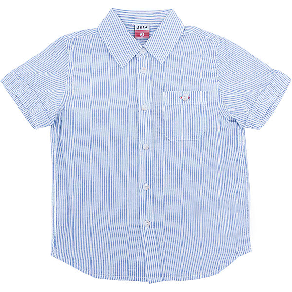 Рубашка для мальчика SELAБлузки и рубашки<br>Характеристики товара:<br><br>• цвет:  белый<br>• сезон: лето<br>• состав: 100% хлопок<br>• пуговицы<br>• короткие рукава<br>• отложной воротник<br>• принт<br>• страна бренда: Россия<br><br>Модная рубашка для мальчика разнообразит гардероб ребенка. Она отлично сочетается с джинсами, брюками или шортами. Очень стильно смотрится!<br><br>Одежда, обувь и аксессуары от российского бренда SELA не зря пользуются большой популярностью у детей и взрослых! Модели этой марки - стильные и удобные, цена при этом неизменно остается доступной. <br><br>Рубашку для мальчика от популярного бренда SELA (СЕЛА) можно купить в нашем интернет-магазине.<br>Ширина мм: 174; Глубина мм: 10; Высота мм: 169; Вес г: 157; Цвет: белый; Возраст от месяцев: 24; Возраст до месяцев: 36; Пол: Мужской; Возраст: Детский; Размер: 98,116,92,104,110; SKU: 5305556;