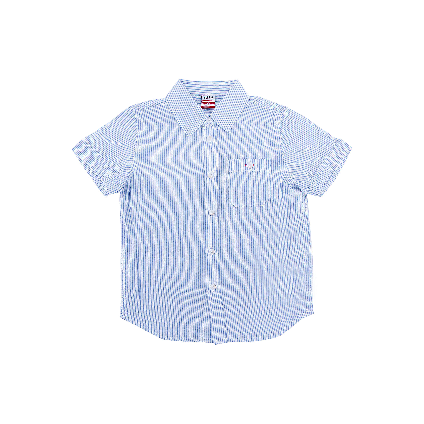 Рубашка для мальчика SELAБлузки и рубашки<br>Рубашка для мальчика от известного бренда SELA<br>Состав:<br>100% хлопок<br><br>Ширина мм: 174<br>Глубина мм: 10<br>Высота мм: 169<br>Вес г: 157<br>Цвет: белый<br>Возраст от месяцев: 60<br>Возраст до месяцев: 72<br>Пол: Мужской<br>Возраст: Детский<br>Размер: 116,92,98,104,110<br>SKU: 5305556
