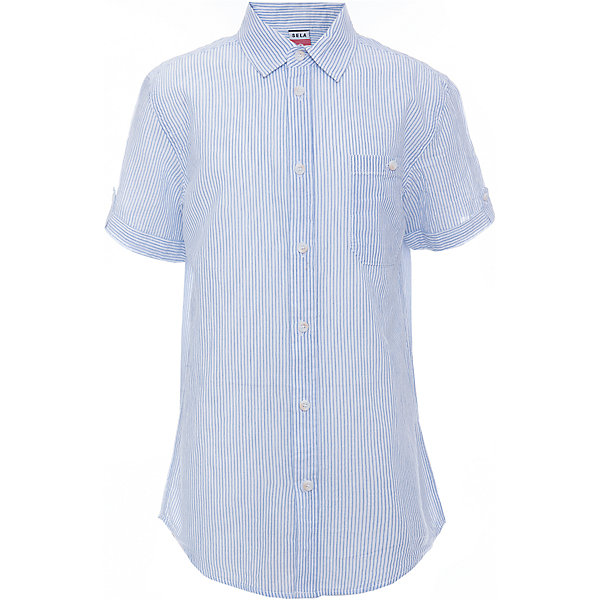Рубашка для мальчика SELAБлузки и рубашки<br>Характеристики товара:<br><br>• цвет:  белый<br>• сезон: лето<br>• состав: 100% хлопок<br>• пуговицы<br>• короткие рукава<br>• отложной воротник<br>• принт<br>• страна бренда: Россия<br><br>Модная рубашка для мальчика разнообразит гардероб ребенка. Она отлично сочетается с джинсами, брюками или шортами. Очень стильно смотрится!<br><br>Одежда, обувь и аксессуары от российского бренда SELA не зря пользуются большой популярностью у детей и взрослых! Модели этой марки - стильные и удобные, цена при этом неизменно остается доступной. <br><br>Рубашку для мальчика от популярного бренда SELA (СЕЛА) можно купить в нашем интернет-магазине.<br><br>Ширина мм: 174<br>Глубина мм: 10<br>Высота мм: 169<br>Вес г: 157<br>Цвет: белый<br>Возраст от месяцев: 108<br>Возраст до месяцев: 120<br>Пол: Мужской<br>Возраст: Детский<br>Размер: 140,134,128,122,152,146<br>SKU: 5305562