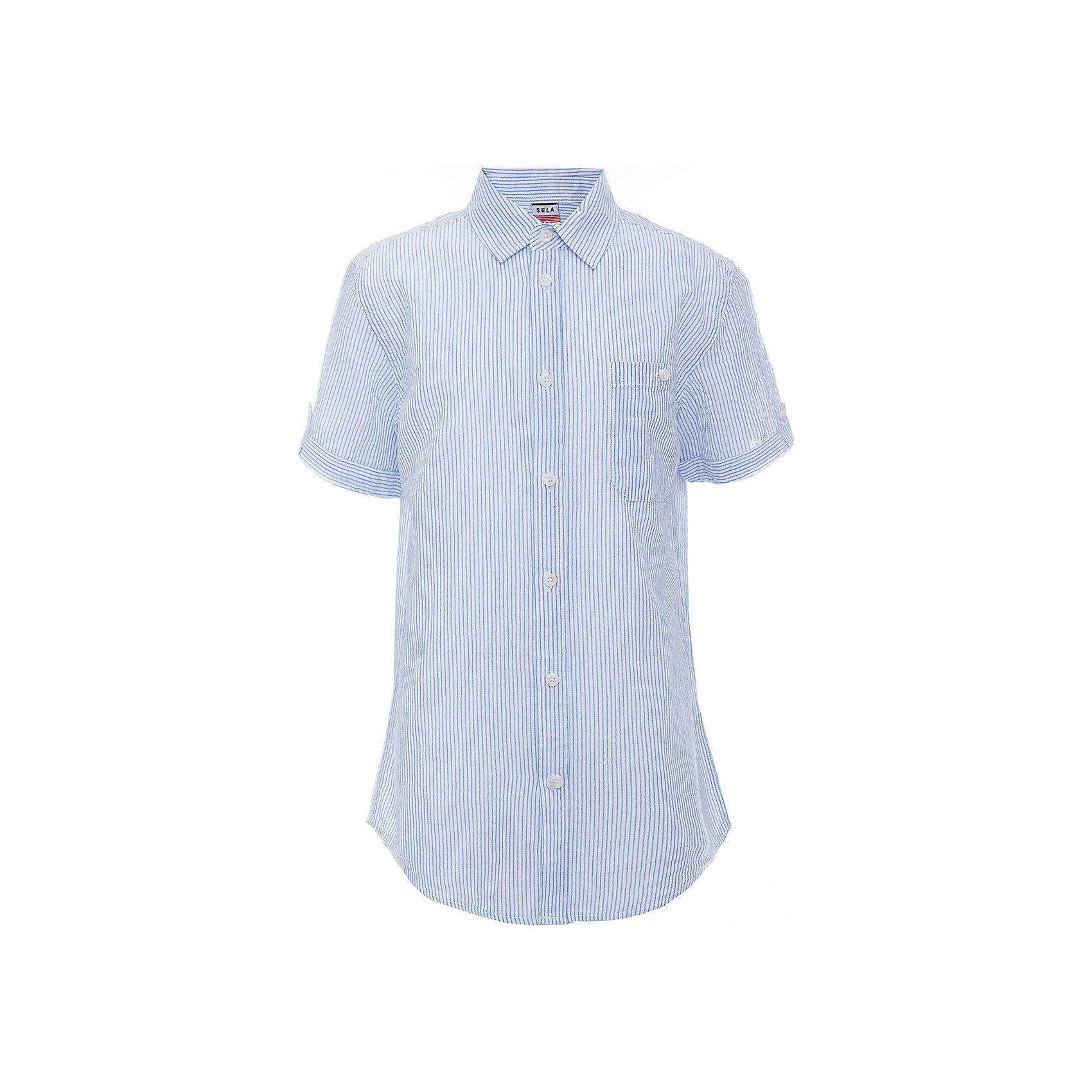 Рубашка для мальчика SELAБлузки и рубашки<br>Характеристики товара:<br><br>• цвет:  белый<br>• сезон: лето<br>• состав: 100% хлопок<br>• пуговицы<br>• короткие рукава<br>• отложной воротник<br>• принт<br>• страна бренда: Россия<br><br>Модная рубашка для мальчика разнообразит гардероб ребенка. Она отлично сочетается с джинсами, брюками или шортами. Очень стильно смотрится!<br><br>Одежда, обувь и аксессуары от российского бренда SELA не зря пользуются большой популярностью у детей и взрослых! Модели этой марки - стильные и удобные, цена при этом неизменно остается доступной. <br><br>Рубашку для мальчика от популярного бренда SELA (СЕЛА) можно купить в нашем интернет-магазине.<br><br>Ширина мм: 174<br>Глубина мм: 10<br>Высота мм: 169<br>Вес г: 157<br>Цвет: белый<br>Возраст от месяцев: 120<br>Возраст до месяцев: 132<br>Пол: Мужской<br>Возраст: Детский<br>Размер: 146,152,122,128,134,140<br>SKU: 5305562