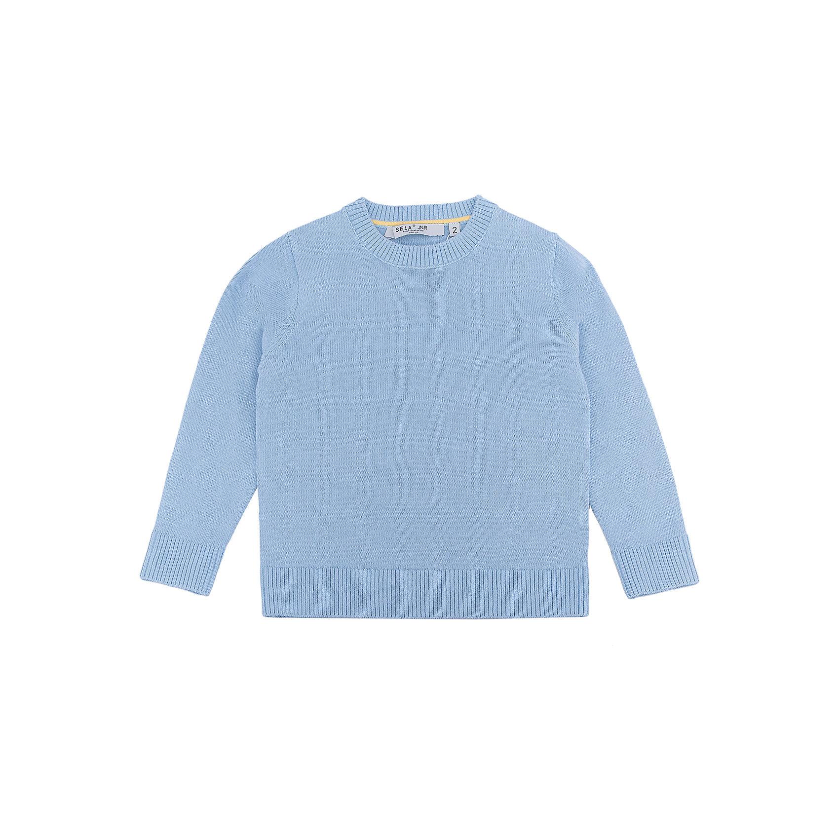 Джемпер для мальчика SELAСвитера и кардиганы<br>Характеристики:<br><br>• Вид детской и подростковой одежды: джемпер<br>• Пол: для мальчика<br>• Предназначение: повседневная (для школы)<br>• Сезон: демисезонный<br>• Тематика рисунка: без рисунка<br>• Цвет: голубой<br>• Материал: хлопок, 100%<br>• Силуэт: классический<br>• Рукав: втачной<br>• Воротник: округлый<br>• Особенности ухода: ручная стирка при температуре не более 30 градусов, глажение на щадящем режиме<br><br>Джемпер для мальчика SELA из коллекции детской и подростковой одежды от знаменитого торгового бренда, который производит удобную, комфортную и стильную одежду, предназначенную как для будней, так и для праздников. Джемпер выполнен из 100% хлопка, который обеспечивает изделию гипоаллергенные свойства, устойчивость к деформации и образованию катышков. Изделие выполнено в классическом стиле: прямой силуэт, длинный втачной рукав с манжетами из эластичной резинки и округлый воротничок. Джемпер выполнен в традиционном цвете для мальчиков. Изделие может быть в качестве базовой вещи в гардеробе для мальчика, прекрасно будет сочетаться как с брюками, так и с джинсами.<br><br>Джемпер для мальчика SELA можно купить в нашем интернет-магазине.<br>Состав:<br>100% хлопок<br><br>Ширина мм: 190<br>Глубина мм: 74<br>Высота мм: 229<br>Вес г: 236<br>Цвет: голубой<br>Возраст от месяцев: 48<br>Возраст до месяцев: 60<br>Пол: Мужской<br>Возраст: Детский<br>Размер: 110,104,98,92,116<br>SKU: 5305661