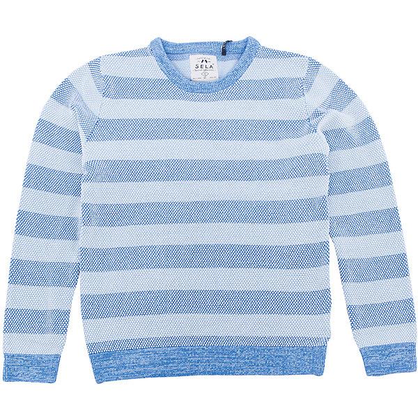 Джемпер для мальчика SELAСвитера и кардиганы<br>Характеристики:<br><br>• Вид детской и подростковой одежды: джемпер<br>• Пол: для мальчика<br>• Предназначение: повседневная<br>• Сезон: демисезонный<br>• Цвет: небесный<br>• Материал: хлопок, 100%<br>• Силуэт: классический<br>• Рукав: реглан<br>• Воротник: округлый<br>• Особенности ухода: ручная стирка при температуре не более 30 градусов, глажение на щадящем режиме<br><br>Джемпер для мальчика SELA из коллекции детской и подростковой одежды от знаменитого торгового бренда, который производит удобную, комфортную и стильную одежду, предназначенную как для будней, так и для праздников. Джемпер выполнен из 100% хлопка, который обеспечивает изделию гипоаллергенные свойства, устойчивость к деформации и образованию катышков. <br><br>Изделие выполнено в классическом стиле: прямой силуэт, длинный рукав реглан и округлый воротничок. Джемпер выполнен в традиционном цвете для мальчиков. Изделие может быть в качестве базовой вещи в гардеробе для мальчика, прекрасно будет сочетаться как с брюками, так и с джинсами.<br><br>Джемпер для мальчика SELA можно купить в нашем интернет-магазине.<br><br>Ширина мм: 190<br>Глубина мм: 74<br>Высота мм: 229<br>Вес г: 236<br>Цвет: голубой<br>Возраст от месяцев: 108<br>Возраст до месяцев: 120<br>Пол: Мужской<br>Возраст: Детский<br>Размер: 140,128,116,152<br>SKU: 5305672