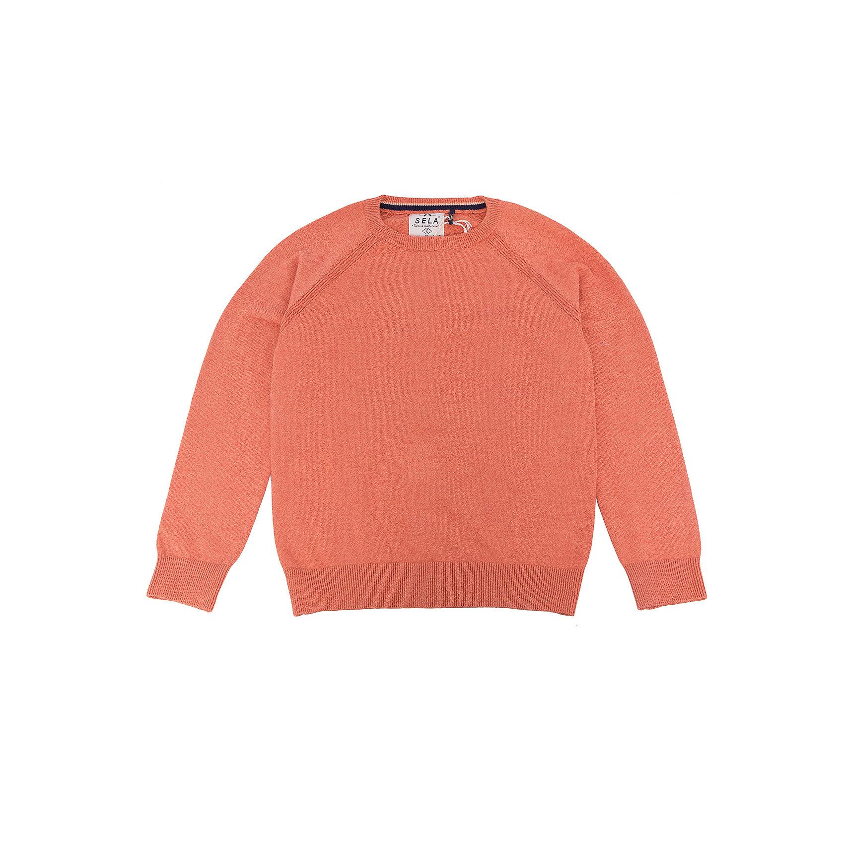 Джемпер для мальчика SELAСвитера и кардиганы<br>Джемпер для мальчика SELA (Села)<br><br>Характеристики:<br><br>• цвет: оранжевый<br>• силуэт: прямой<br>• рукав: длинный, реглан<br>• материал: 100% хлопок<br>• коллекция: весна 2017<br><br>Джемпер для мальчика от популярного бренда SELA изготовлен из качественного хлопка, приятного телу. Модель имеет прямой силуэт, длинный рукав реглан и округлый ворот. Резинка на манжетах и подоле защитит ребенка от попадания холодного воздуха. Приятная однотонная расцветка отлично подойдет к любым брюкам или джинсам.<br><br>Джемпер для мальчика SELA (Села) вы можете купить в нашем интернет-магазине.<br><br>Ширина мм: 190<br>Глубина мм: 74<br>Высота мм: 229<br>Вес г: 236<br>Цвет: оранжевый<br>Возраст от месяцев: 84<br>Возраст до месяцев: 96<br>Пол: Мужской<br>Возраст: Детский<br>Размер: 128,140,152,116<br>SKU: 5305682