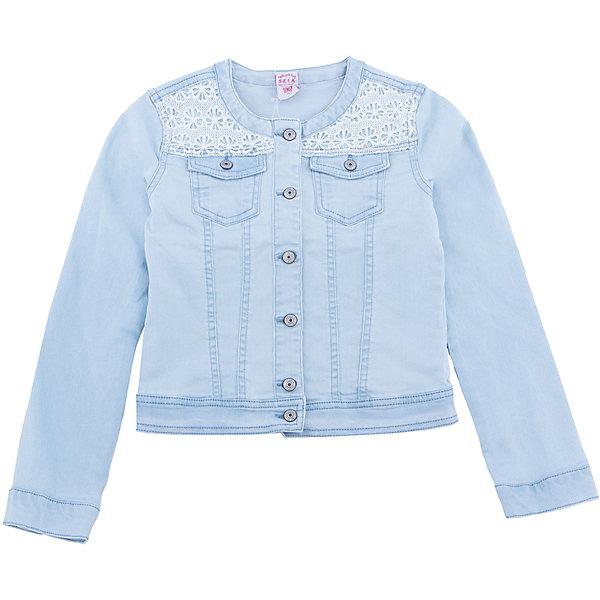 Куртка джинсовая для девочки SELAДжинсовая одежда<br>Характеристики товара:<br><br>• цвет: голубой джинс<br>• состав: 78% хлопок, 21% ПЭ, 1% эластан<br>• декорирован кружевом<br>• карманы<br>• длинные рукава<br>• эффект потертостей<br>• пуговицы<br>• страна бренда: Россия<br><br>Вещи из новой коллекции SELA продолжают радовать удобством! Стильная легкая куртка для девочки поможет разнообразить гардероб ребенка и обеспечить комфорт в прохладную погоду. Она отлично сочетается с юбками и брюками. Отличается оригинальной отделкой. <br><br>Одежда, обувь и аксессуары от российского бренда SELA не зря пользуются большой популярностью у детей и взрослых! Модели этой марки - стильные и удобные, цена при этом неизменно остается доступной. Для их производства используются только безопасные, качественные материалы и фурнитура. Новая коллекция поддерживает хорошие традиции бренда! <br><br>Жакет для девочки от популярного бренда SELA (СЕЛА) можно купить в нашем интернет-магазине.<br>Ширина мм: 190; Глубина мм: 74; Высота мм: 229; Вес г: 236; Цвет: голубой; Возраст от месяцев: 60; Возраст до месяцев: 72; Пол: Женский; Возраст: Детский; Размер: 116,134,128,122,152,146,140; SKU: 5305692;
