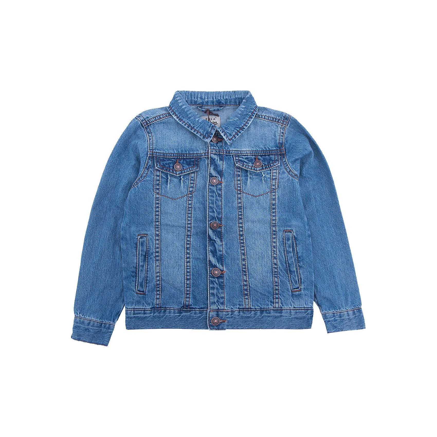 Куртка джинсовая для мальчика SELAДжинсовая одежда<br>Характеристики товара:<br><br>• цвет: синий джинс<br>• сезон: демисезон<br>• состав: 100% хлопок<br>• отложной воротник<br>• карманы<br>• длинные рукава<br>• эффект потертостей<br>• пуговицы<br>• страна бренда: Россия<br><br>Вещи из новой коллекции SELA продолжают радовать удобством! Стильная легкая куртка для мальчика  поможет разнообразить гардероб ребенка и обеспечить комфорт в прохладную погоду. Она отлично сочетается с юбками и брюками. Отличается удобством и высоким качеством. <br><br>Одежда, обувь и аксессуары от российского бренда SELA не зря пользуются большой популярностью у детей и взрослых! <br><br>Куртку для мальчика  от популярного бренда SELA (СЕЛА) можно купить в нашем интернет-магазине.<br><br>Ширина мм: 356<br>Глубина мм: 10<br>Высота мм: 245<br>Вес г: 519<br>Цвет: синий джинс<br>Возраст от месяцев: 18<br>Возраст до месяцев: 24<br>Пол: Мужской<br>Возраст: Детский<br>Размер: 92,104,110,116,98<br>SKU: 5305708
