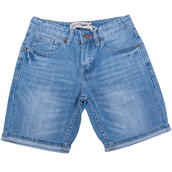 Шорты джинсовые для мальчика SELAШорты, бриджи, капри<br>Характеристики товара:<br><br>• цвет: синий<br>• сезон: лето<br>• состав: 100% хлопок<br>• эффект потертостей<br>• застежка - пуговица<br>• карманы<br>• шлевки<br>• страна бренда: Россия<br><br>Вещи из новой коллекции SELA продолжают радовать удобством! Легкие шорты для мальчика  помогут разнообразить гардероб ребенка и обеспечить комфорт. <br><br>Одежда, обувь и аксессуары от российского бренда SELA не зря пользуются большой популярностью у детей и взрослых! Модели этой марки - стильные и удобные, цена при этом неизменно остается доступной. Для их производства используются только безопасные, качественные материалы и фурнитура. Новая коллекция поддерживает хорошие традиции бренда! <br><br>Шорты для мальчика от популярного бренда SELA (СЕЛА) можно купить в нашем интернет-магазине.<br>Ширина мм: 191; Глубина мм: 10; Высота мм: 175; Вес г: 273; Цвет: голубой; Возраст от месяцев: 108; Возраст до месяцев: 120; Пол: Мужской; Возраст: Детский; Размер: 140,134,128,122,152,146; SKU: 5305970;