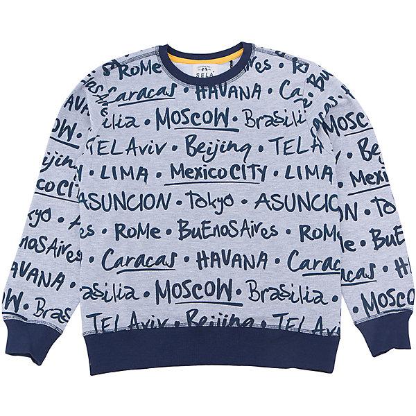 Толстовка для мальчика SELAСвитера и кардиганы<br>Характеристики товара:<br><br>• цвет: серый<br>• состав: 100% хлопок<br>• принт<br>• манжеты<br>• длинные рукава<br>• отделка низа резинкой<br>• страна бренда: Российская Федерация<br><br>Вещи из новой коллекции SELA продолжают радовать удобством! Стильная толстовка для мальчика поможет разнообразить гардероб ребенка и обеспечить комфорт. Она отлично сочетается с джинсами и брюками. Отличается оригинальной отделкой. <br><br>Толстовка для мальчика от популярного бренда SELA (СЕЛА) можно купить в нашем интернет-магазине.<br><br>Ширина мм: 190<br>Глубина мм: 74<br>Высота мм: 229<br>Вес г: 236<br>Цвет: серый<br>Возраст от месяцев: 84<br>Возраст до месяцев: 96<br>Пол: Мужской<br>Возраст: Детский<br>Размер: 128,146,140,134,122,116,152<br>SKU: 5306558