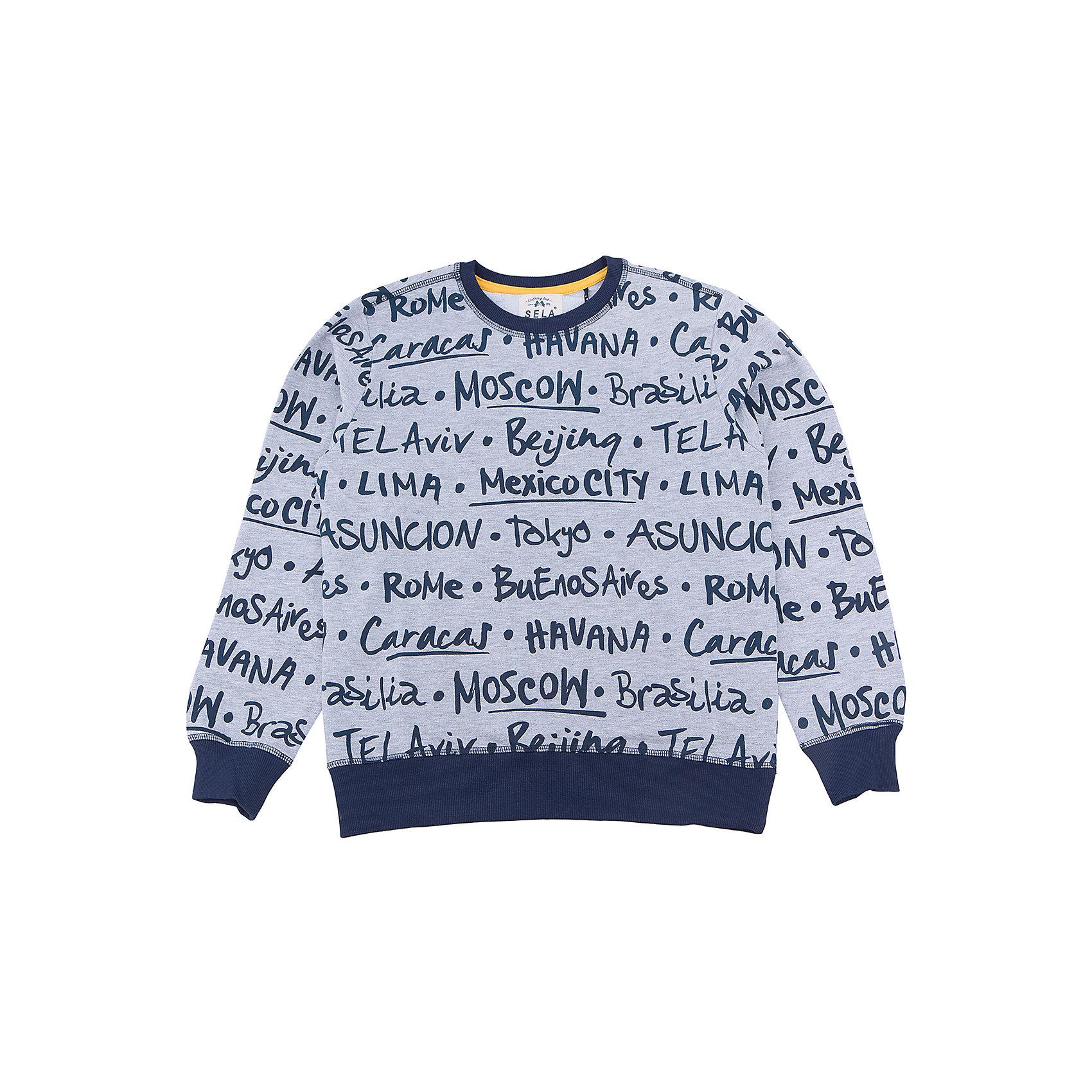 Джемпер для мальчика SELAСвитера и кардиганы<br>Характеристики товара:<br><br>• цвет: серый<br>• состав: 100% хлопок<br>• принт<br>• манжеты<br>• длинные рукава<br>• отделка низа резинкой<br>• страна бренда: Российская Федерация<br><br>Вещи из новой коллекции SELA продолжают радовать удобством! Стильная толстовка для мальчика поможет разнообразить гардероб ребенка и обеспечить комфорт. Она отлично сочетается с джинсами и брюками. Отличается оригинальной отделкой. <br><br>Джемпер для мальчика от популярного бренда SELA (СЕЛА) можно купить в нашем интернет-магазине.<br><br>Ширина мм: 190<br>Глубина мм: 74<br>Высота мм: 229<br>Вес г: 236<br>Цвет: серый<br>Возраст от месяцев: 96<br>Возраст до месяцев: 108<br>Пол: Мужской<br>Возраст: Детский<br>Размер: 134,140,146,152,116,122,128<br>SKU: 5306558