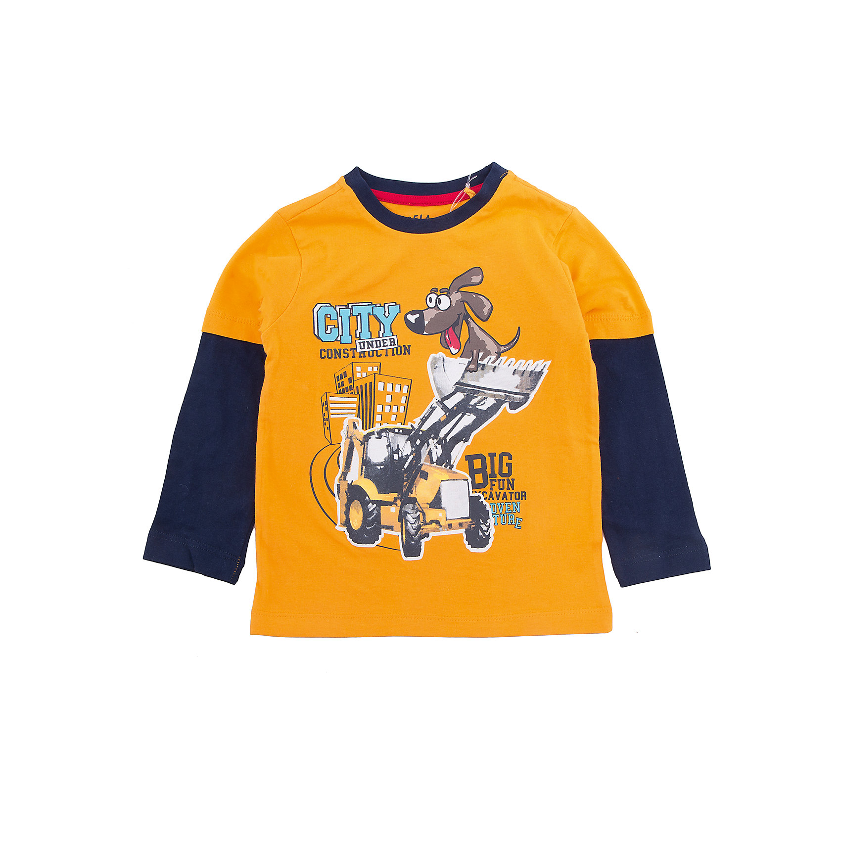 Футболка с длинным рукавом для мальчика SELAФутболки с длинным рукавом<br>Характеристики товара:<br><br>• цвет: оранжевый/синий<br>• состав: 100% хлопок<br>• декорирована принтом<br>• длинные рукава<br>• округлый горловой вырез<br>• коллекция весна-лето 2017<br>• страна бренда: Российская Федерация<br><br>В новой коллекции SELA отличные модели одежды! Эта футболка с длинным рукавом для мальчика поможет разнообразить гардероб ребенка и обеспечить комфорт. Она отлично сочетается с джинсами и брюками. Стильная и удобная вещь!<br><br>Одежда, обувь и аксессуары от российского бренда SELA не зря пользуются большой популярностью у детей и взрослых! Модели этой марки - стильные и удобные, цена при этом неизменно остается доступной. Для их производства используются только безопасные, качественные материалы и фурнитура. Новая коллекция поддерживает хорошие традиции бренда! <br><br>Футболку с длинным рукавом для мальчика от популярного бренда SELA (СЕЛА) можно купить в нашем интернет-магазине.<br><br>Ширина мм: 190<br>Глубина мм: 74<br>Высота мм: 229<br>Вес г: 236<br>Цвет: желтый<br>Возраст от месяцев: 36<br>Возраст до месяцев: 48<br>Пол: Мужской<br>Возраст: Детский<br>Размер: 104,116,110,98,92<br>SKU: 5306775