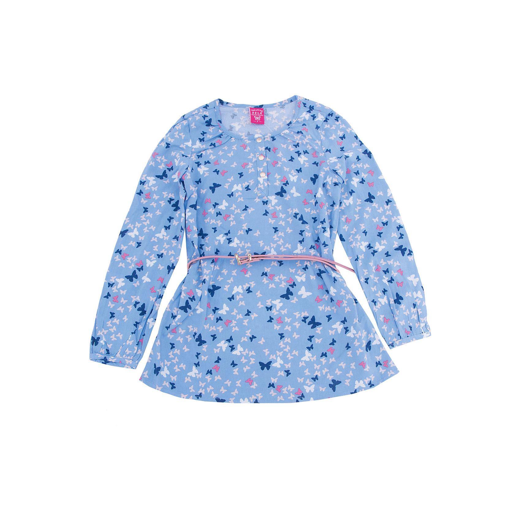 Блуза для девочки SELAБлузки и рубашки<br>Характеристики товара:<br><br>• цвет: голубой<br>• состав: 100% вискоза<br>• декорирована принтом<br>• приталенная<br>• длинные рукава<br>• округлый горловой вырез<br>• коллекция весна-лето 2017<br>• страна бренда: Российская Федерация<br><br>В новой коллекции SELA отличные модели одежды! Эта блуза для девочки поможет разнообразить гардероб ребенка и обеспечить комфорт. Она отлично сочетается с юбками и брюками. Стильная и удобная вещь!<br><br>Одежда, обувь и аксессуары от российского бренда SELA не зря пользуются большой популярностью у детей и взрослых! Модели этой марки - стильные и удобные, цена при этом неизменно остается доступной. Для их производства используются только безопасные, качественные материалы и фурнитура. Новая коллекция поддерживает хорошие традиции бренда! <br><br>Блузу для девочки от популярного бренда SELA (СЕЛА) можно купить в нашем интернет-магазине.<br><br>Ширина мм: 186<br>Глубина мм: 87<br>Высота мм: 198<br>Вес г: 197<br>Цвет: голубой<br>Возраст от месяцев: 96<br>Возраст до месяцев: 108<br>Пол: Женский<br>Возраст: Детский<br>Размер: 134,140,146,152,122,128<br>SKU: 5306944