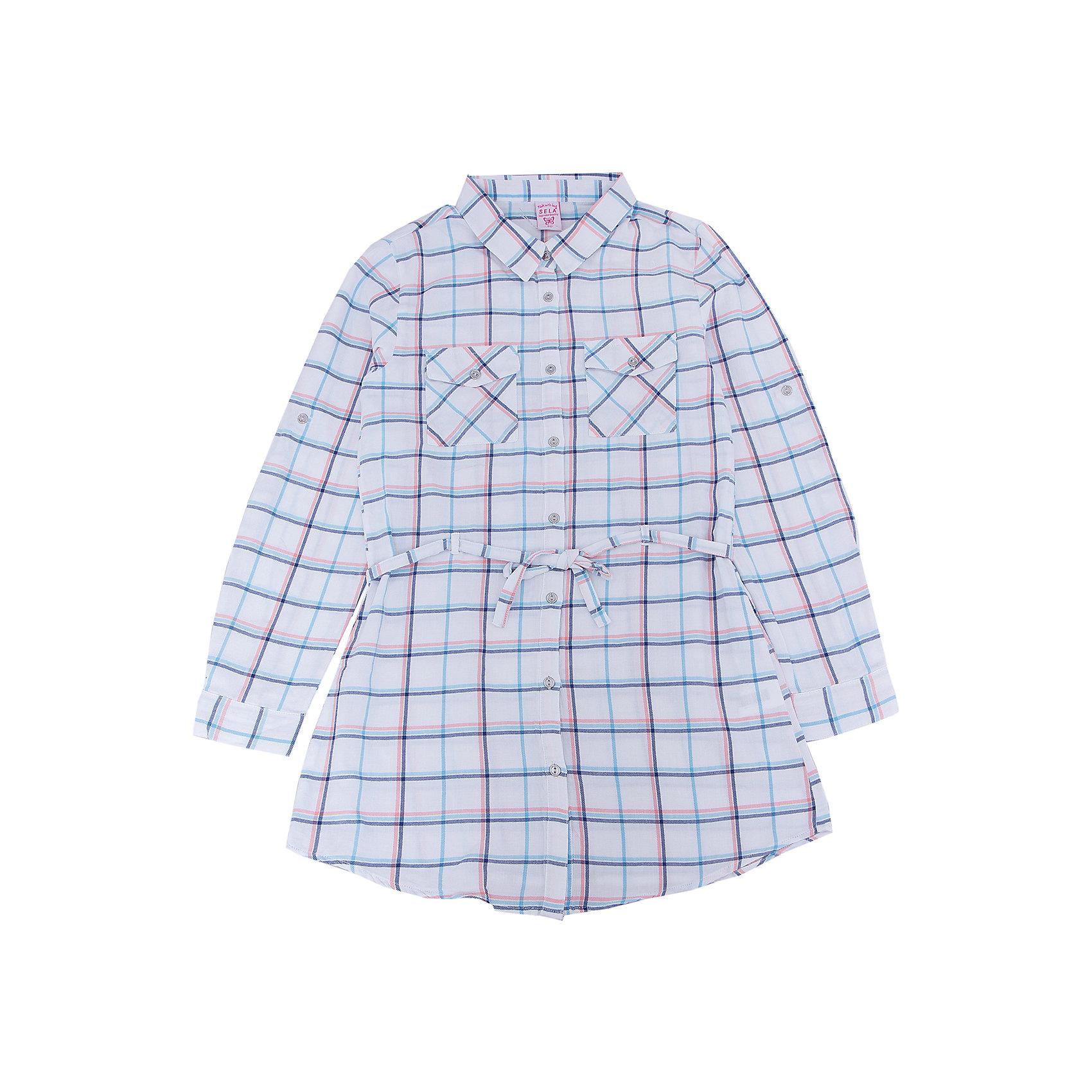 Блуза для девочки SELAБлузки и рубашки<br>Характеристики товара:<br><br>• цвет: белый<br>• состав: 100% хлопок<br>• в клетку<br>• приталенная<br>• карманы<br>• длинные рукава<br>• отложной воротник<br>• коллекция весна-лето 2017<br>• страна бренда: Российская Федерация<br><br>В новой коллекции SELA отличные модели одежды! Эта блуза для девочки поможет разнообразить гардероб ребенка и обеспечить комфорт. Она отлично сочетается с юбками и брюками. Стильная и удобная вещь!<br><br>Одежда, обувь и аксессуары от российского бренда SELA не зря пользуются большой популярностью у детей и взрослых! Модели этой марки - стильные и удобные, цена при этом неизменно остается доступной. Для их производства используются только безопасные, качественные материалы и фурнитура. Новая коллекция поддерживает хорошие традиции бренда! <br><br>Блузу для девочки от популярного бренда SELA (СЕЛА) можно купить в нашем интернет-магазине.<br><br>Ширина мм: 186<br>Глубина мм: 87<br>Высота мм: 198<br>Вес г: 197<br>Цвет: белый<br>Возраст от месяцев: 96<br>Возраст до месяцев: 108<br>Пол: Женский<br>Возраст: Детский<br>Размер: 146,152,122,128,134,140<br>SKU: 5306951