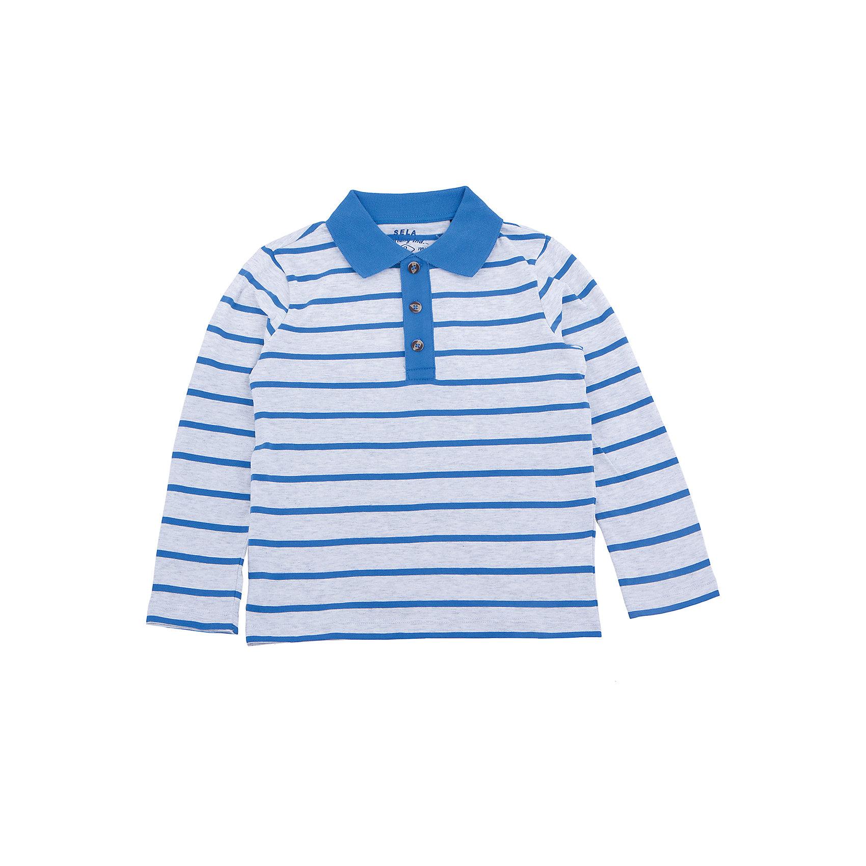 Рубашка-поло для мальчика SELAФутболки с длинным рукавом<br>Характеристики товара:<br><br>• цвет: серый в полоску<br>• состав: 100% хлопок<br>• пуговицы<br>• сезон: демисезон<br>• рукава длинные<br>• отложной воротник<br>• коллекция весна-лето 2017<br>• страна бренда: Российская Федерация<br><br>Вещи из новой коллекции SELA продолжают радовать удобством! Эта футболка с длинным рукавом для мальчика поможет разнообразить гардероб ребенка и обеспечить комфорт. Она отлично сочетается с шортами и брюками. Стильная и удобная вещь!<br><br>Одежда, обувь и аксессуары от российского бренда SELA не зря пользуются большой популярностью у детей и взрослых! <br><br>Рубашку-поло для мальчика от популярного бренда SELA (СЕЛА) можно купить в нашем интернет-магазине.<br><br>Ширина мм: 174<br>Глубина мм: 10<br>Высота мм: 169<br>Вес г: 157<br>Цвет: серый<br>Возраст от месяцев: 18<br>Возраст до месяцев: 24<br>Пол: Мужской<br>Возраст: Детский<br>Размер: 92,116,110,104,98<br>SKU: 5306958