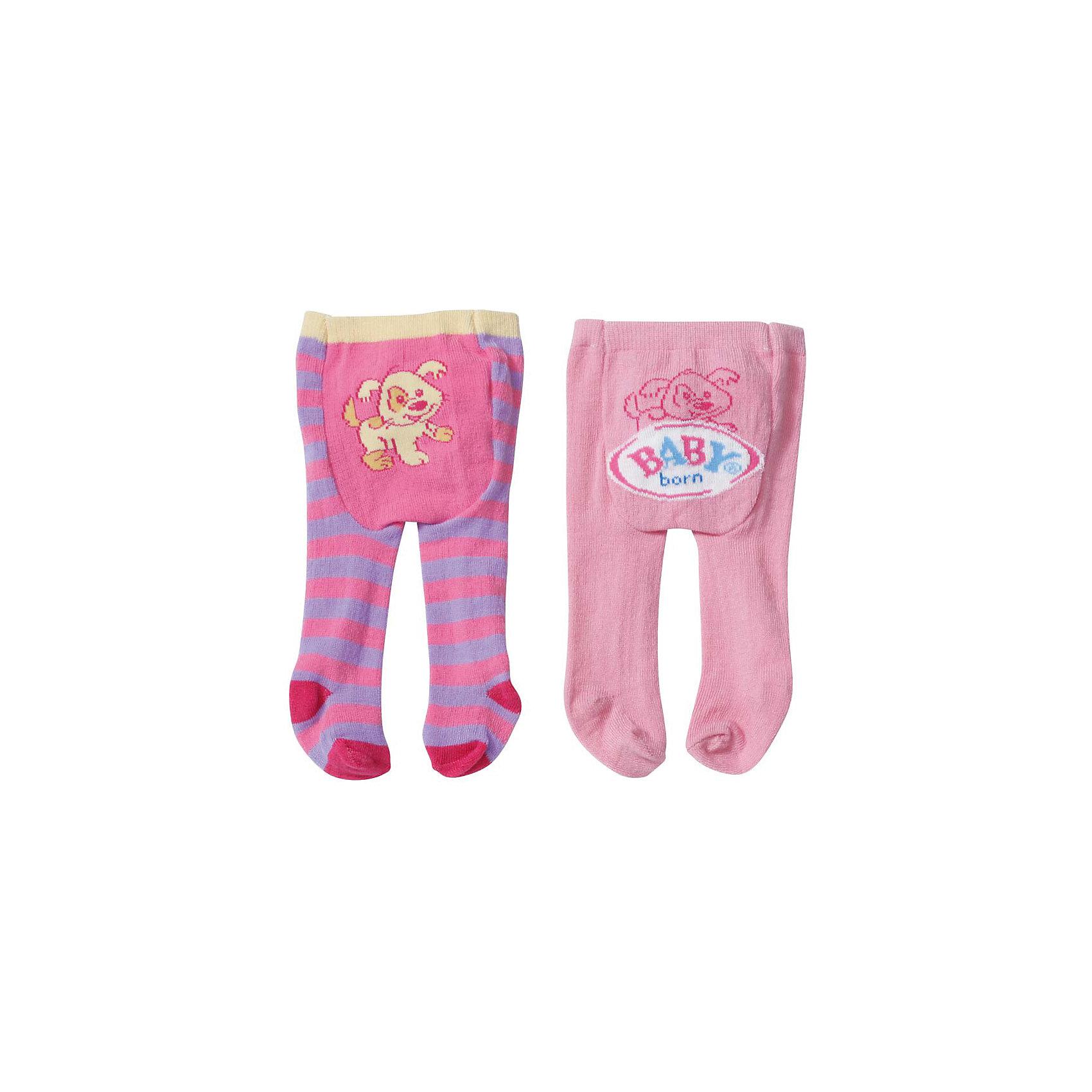 Колготки, розово-фиолетовые с собачкой, BABY bornБренды кукол<br>Характеристики:<br><br>• Тип одежды для куклы: колготки<br>• Предназначение: для сюжетно-ролевых игр<br>• Для куклы или пупсов: BABY born<br>• Рост куклы/пупса: от 43 см<br>• Цвет: фиолетовый, розовый<br>• Тематика рисунка: полоска, собачки<br>• Материал: текстиль <br>• Комплектация: 2 пары колготок<br>• Вес: 53 г<br>• Размеры упаковки (Д*В*Ш): 26,9*13,9*2,1 см<br>• Упаковка: блистер на картоне<br>• Особенности ухода: допускается деликатная стирка без использования красящих и отбеливающих средств <br><br>Колготки, розово-фиолетовые с собачкой, BABY born от немецкого производителя Zapf Creation предназначены для кукол и пупсов серии BABY born. Выполненные из текстиля высокого качества, который обладает высокими эластичными качествами, колготки устойчивы к изменению цвета и формы, на них не образуются катышки и затяжки. <br><br>Комплект состоит из двух пар колготок ярких цветов: розово-фиолетовых в широкую полоску и однотонных розовых. Украшены колготки изображением собачек и брендовой надписью. Кукольные колготки выполнены с детальным соответствием реальным детским колготкам, благодаря чему девочка научится правильно надевать колготки и  ухаживать за ними.<br><br>Колготки, розово-фиолетовые с собачкой, BABY born можно купить в нашем интернет-магазине.<br><br>Ширина мм: 269<br>Глубина мм: 139<br>Высота мм: 21<br>Вес г: 53<br>Возраст от месяцев: 36<br>Возраст до месяцев: 2147483647<br>Пол: Женский<br>Возраст: Детский<br>SKU: 5308980
