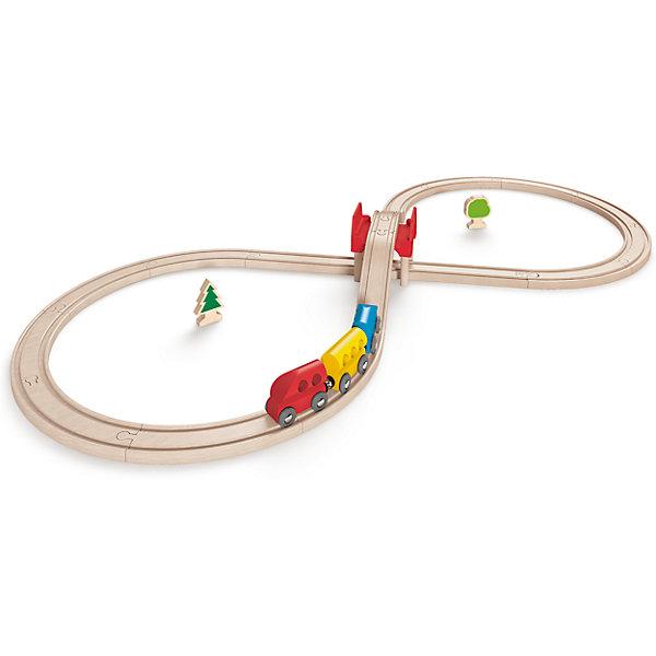 Игровой набор Железная дорога, HapeЖелезные дороги<br>Игровой набор Железная дорога, Hape (Хейп).<br><br>Характеристики:<br><br>- В наборе: 17 элементов для сборки железной дороги, мост, два дерева, три вагончика - красный, голубой и желтый<br>- Протяженность дороги: 3 м.<br>- Размер в собранном виде: 48х6х24 см.<br>- Материал: древесина<br><br>Игровой набор состоит из железной дороги в виде восьмерки, трех вагонов и дополнительных элементов – двух деревьев и мостика. Яркие цвета вагонов и деревьев отлично сочетается с нежным и спокойным цветом железной дороги. Железная дорога собирается из отдельных элементов по принципу пазла.  Затруднений со сборкой железнодорожного полотна у ребенка не возникнет, так как элементы довольно крупные. Вагоны крепятся друг к другу магнитными элементами, расположенными в передней и задней частях, что позволяет беспрепятственно отсоединять их, комбинировать по ходу игры. Вагоны плавно и быстро едут по деревянным рельсам, а спускаясь с моста, могут по инерции проехать полный круг. Набор изготовлен из отлично отшлифованного, натурального дерева, окрашенного нетоксичной краской.  Играя с набором Железная дорога, ребенок будет не только получать удовольствие от игры, но и развивать мелкую моторику рук, фантазию, воображение, координацию движений, конструкторские и игровые навыки.<br><br>Игровой набор Железная дорога, Hape (Хейп) можно купить в нашем интернет-магазине.<br><br>Ширина мм: 60<br>Глубина мм: 480<br>Высота мм: 240<br>Вес г: 1467<br>Возраст от месяцев: 36<br>Возраст до месяцев: 84<br>Пол: Мужской<br>Возраст: Детский<br>SKU: 5309150