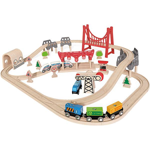 Игровой набор Железная дорога, HapeЖелезные дороги<br>Игровой набор Железная дорога, Hape (Хейп).<br><br>Характеристики:<br><br>- В наборе: элементы для сборки железной дороги, арочный мост, вантовый мост, депо, 2 состава (грузовой и пассажирский), машинка, деревья, часы, железнодорожные знаки, погрузчик<br>- Количество деталей: 63<br>- Размер в собранном виде: 85х70х20 см.<br>- Материал: древесина<br>- Размер упаковки: 48х15х45 см.<br><br>Игровой набор Железная дорога от Hape (Хейп) – мечта любого мальчишки! Набор состоит из железной дороги в виде двойной петли с арочным и вантовым мостом, пассажирского и грузового составов, депо и дополнительных элементов – погрузчика, часов, машинки, фигурок в виде деревьев и железнодорожных знаков. Железная дорога собирается из отдельных элементов по принципу пазла. Затруднений со сборкой железнодорожного полотна у ребенка не возникнет, так как элементы довольно крупные. Вагоны крепятся друг к другу магнитными элементами, расположенными в передней и задней частях, что позволяет беспрепятственно отсоединять их, комбинировать по ходу игры. Набор изготовлен из отлично отшлифованного, натурального дерева, окрашенного нетоксичной краской. Играя с набором Железная дорога, ребенок будет не только получать удовольствие от игры, но и развивать мелкую моторику рук, фантазию, воображение, координацию движений, конструкторские и игровые навыки.<br><br>Игровой набор Железная дорога, Hape (Хейп) можно купить в нашем интернет-магазине.<br><br>Ширина мм: 150<br>Глубина мм: 480<br>Высота мм: 420<br>Вес г: 3500<br>Возраст от месяцев: 36<br>Возраст до месяцев: 84<br>Пол: Мужской<br>Возраст: Детский<br>SKU: 5309151