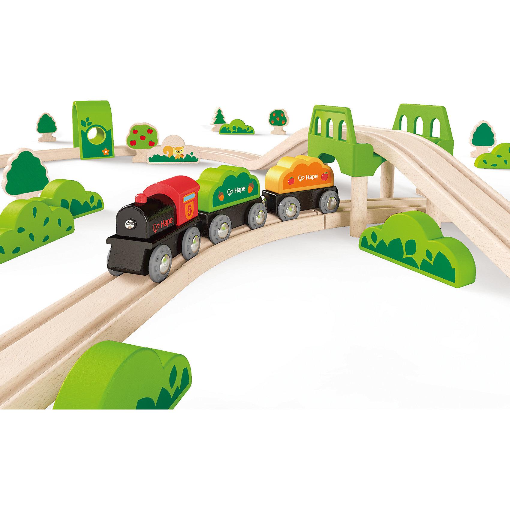Игровой набор Железная дорога, HapeИгрушечная железная дорога<br>Игровой набор Железная дорога, Hape (Хейп).<br><br>Характеристики:<br><br>- В наборе: элементы для сборки железной дороги, зеленый мостик, 2 тоннеля, паровозик и два вагончика, фигурки деревьев, кустов и изображения животных <br>- Количество деталей: 54<br>- Протяженность железнодорожного полотна 3 м.<br>- Размер в собранном виде: 81х100х10 см.<br>- Материал: древесина<br>- Размер упаковки: 48х12х45 см.<br><br>В игровой набор входит все необходимое для создания железной дороги, которая проходит через чудесный лес. Любуйся пейзажами, рассматривай деревья, кусты, диких животных и внимательно следи за маршрутом, так как паровозик с двумя вагонами должен проехать через два тоннеля и преодолеть мост. Железная дорога собирается из отдельных элементов по принципу пазла. Затруднений со сборкой железнодорожного полотна у ребенка не возникнет, так как элементы довольно крупные. Вагоны крепятся друг к другу магнитными элементами, расположенными в передней и задней частях, что позволяет беспрепятственно отсоединять их, комбинировать по ходу игры. Набор изготовлен из отлично отшлифованного, натурального дерева, окрашенного нетоксичной краской. Играя с набором Железная дорога, ребенок будет не только получать удовольствие от игры, но и развивать мелкую моторику рук, фантазию, воображение, координацию движений, конструкторские и игровые навыки.<br><br>Игровой набор Железная дорога, Hape (Хейп) можно купить в нашем интернет-магазине.<br><br>Ширина мм: 120<br>Глубина мм: 480<br>Высота мм: 360<br>Вес г: 2950<br>Возраст от месяцев: 36<br>Возраст до месяцев: 84<br>Пол: Мужской<br>Возраст: Детский<br>SKU: 5309152