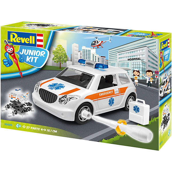 Набор для детей Легковая машина скорой помощиАвтомобили<br>Характеристики товара:<br><br>• возраст: от 4 лет;<br>• цвет: белый;<br>• масштаб: 1:20;<br>• количество деталей: 24 шт;<br>• материал: пластик; <br>• клей и краски в комплект не входят;<br>• бренд, страна бренда: Revell (Ревел),Германия;<br>• страна-изготовитель: Польша.<br><br>Набор для детей «Легковая машина скорой помощи» поможет вам и вашему ребенку придумать увлекательное занятие на долгое время, а также получить замечательную игрушку. <br><br>С помощью 24 пластиковых деталей, инструкции и пластиковой отвертки из набора ребенок соберет машину скорой помощи. Модель имеет интересный дизайн и очень хорошо детализирована. Колеса машинки вращаются. Двери и капот открываются. Собранная модель может послужить мальчику интересной игрушкой. Кроме того, ребенок может разобрать автомобиль и попробовать собрать его снова за более короткий промежуток времени.<br><br>Сборка модели поможет развить мелкую моторику рук, познакомит с техническим творчеством и обучит ребенка работе с простейшими инструментами. <br><br>Набор для детей «Легковая машина скорой помощи», 24 дет., Revell (Ревел) можно купить в нашем интернет-магазине.<br>Ширина мм: 300; Глубина мм: 215; Высота мм: 76; Вес г: 426; Возраст от месяцев: 48; Возраст до месяцев: 96; Пол: Мужской; Возраст: Детский; SKU: 5311338;