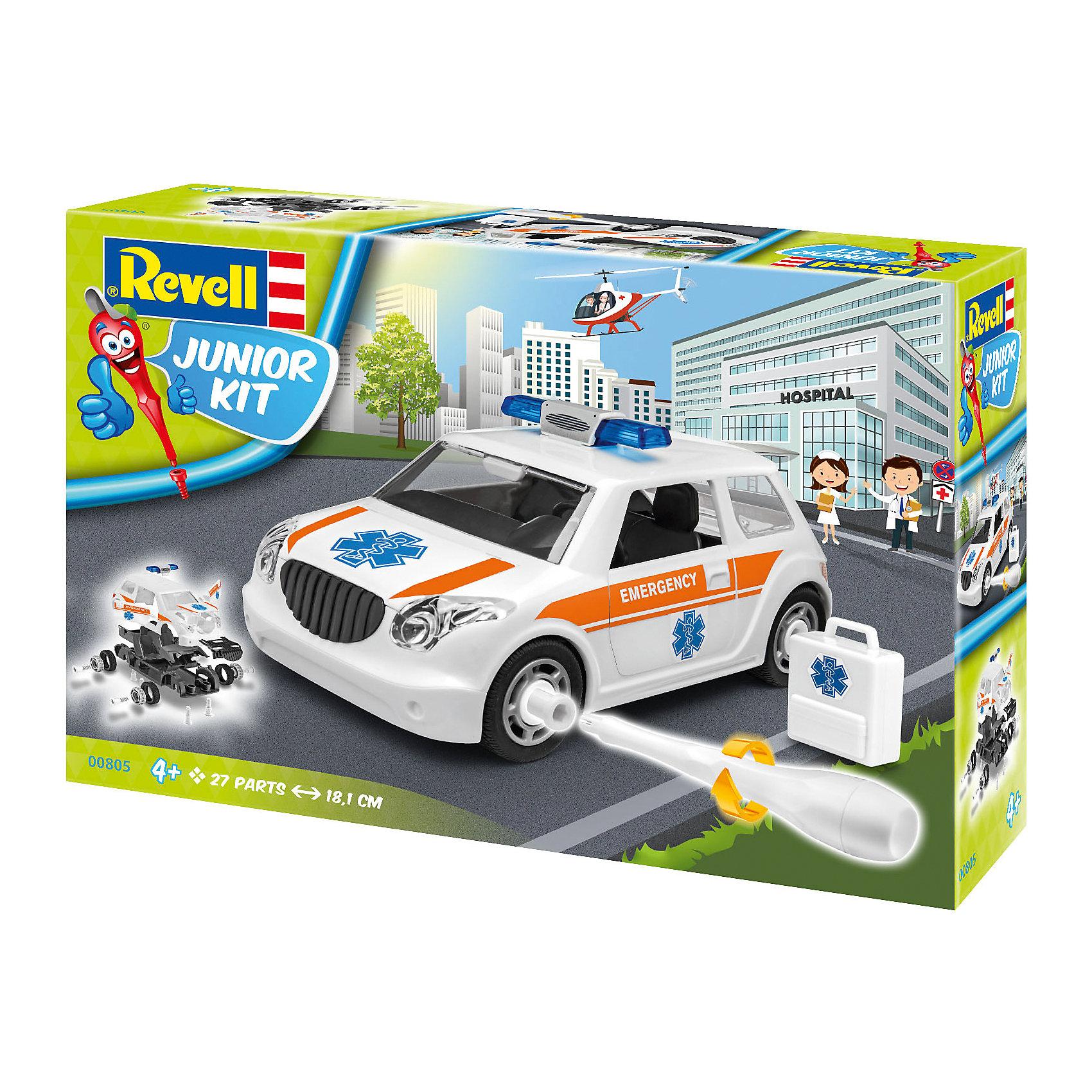 Набор для детей Легковая машина скорой помощиМодели для склеивания<br>Характеристики товара:<br><br>• возраст: от 4 лет;<br>• цвет: белый;<br>• масштаб: 1:20;<br>• количество деталей: 24 шт;<br>• материал: пластик; <br>• клей и краски в комплект не входят;<br>• бренд, страна бренда: Revell (Ревел),Германия;<br>• страна-изготовитель: Польша.<br><br>Набор для детей «Легковая машина скорой помощи» поможет вам и вашему ребенку придумать увлекательное занятие на долгое время, а также получить замечательную игрушку. <br><br>С помощью 24 пластиковых деталей, инструкции и пластиковой отвертки из набора ребенок соберет машину скорой помощи. Модель имеет интересный дизайн и очень хорошо детализирована. Колеса машинки вращаются. Двери и капот открываются. Собранная модель может послужить мальчику интересной игрушкой. Кроме того, ребенок может разобрать автомобиль и попробовать собрать его снова за более короткий промежуток времени.<br><br>Сборка модели поможет развить мелкую моторику рук, познакомит с техническим творчеством и обучит ребенка работе с простейшими инструментами. <br><br>Набор для детей «Легковая машина скорой помощи», 24 дет., Revell (Ревел) можно купить в нашем интернет-магазине.<br><br>Ширина мм: 300<br>Глубина мм: 215<br>Высота мм: 76<br>Вес г: 426<br>Возраст от месяцев: 48<br>Возраст до месяцев: 96<br>Пол: Мужской<br>Возраст: Детский<br>SKU: 5311338