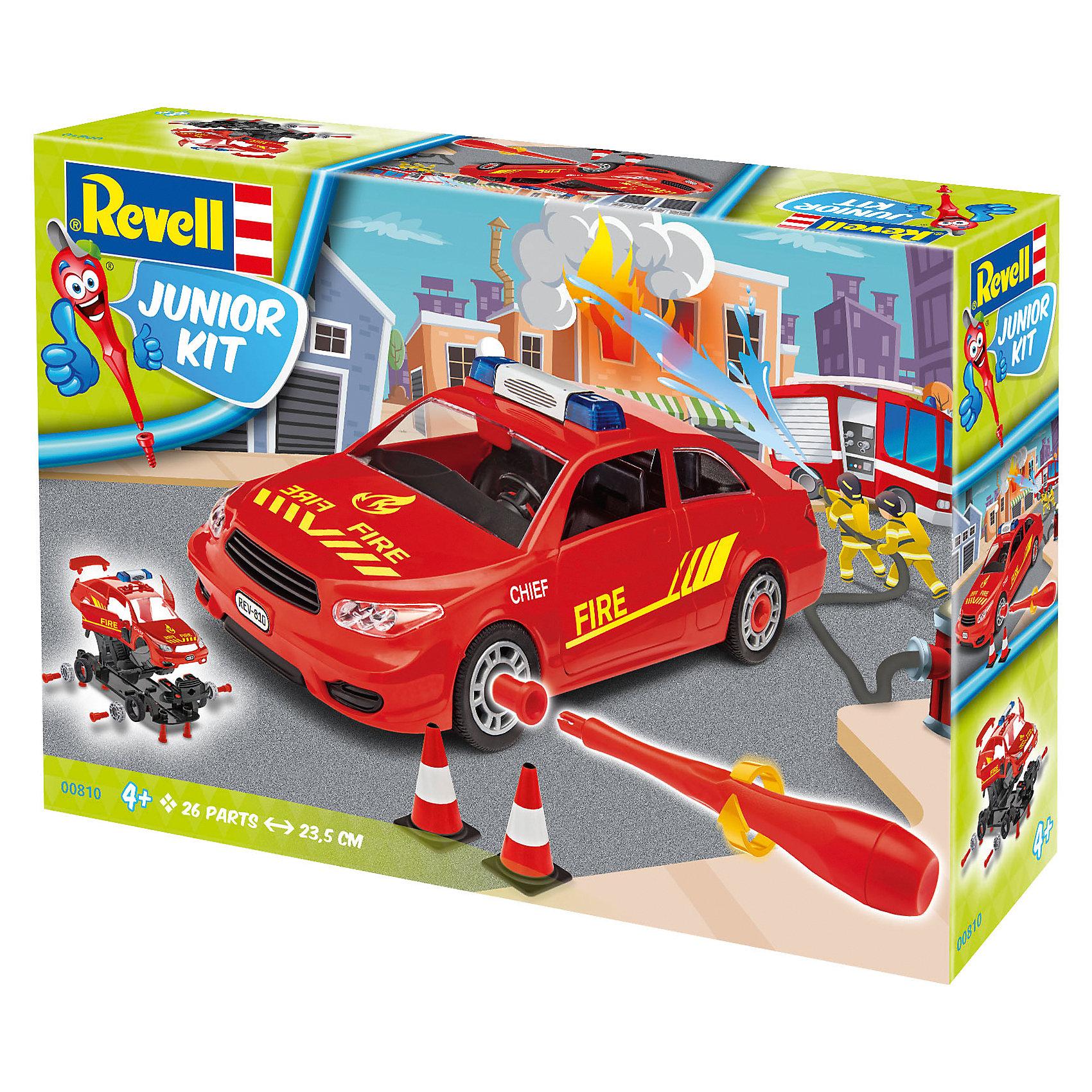 Набор для детей Пожарная легковая машинаМодели для склеивания<br>Характеристики товара:<br><br>• возраст: от 4 лет;<br>• цвет: красный;<br>• масштаб: 1:20;<br>• количество деталей: 30 шт;<br>• длина модели: 24 см.;<br>• материал: пластик; <br>• клей и краски в комплект не входят;<br>• бренд, страна бренда: Revell (Ревел),Германия;<br>• страна-изготовитель: Польша.<br><br>Набор для детей «Пожарная легковая машина» поможет вам и вашему ребенку придумать увлекательное занятие на долгое время, а также получить замечательную игрушку. Модель имеет интересный дизайн и очень хорошо детализирована.<br><br>С помощью 26 пластиковых деталей, наклеек, инструкции и пластиковой отвертки из набора ребенок соберет машину скорой помощи. Модель имеет интересный дизайн и очень хорошо детализирована. Колеса машинки вращаются. Двери и капот открываются. Собранная модель может послужить мальчику интересной игрушкой. Кроме того, ребенок может разобрать автомобиль и попробовать собрать его снова за более короткий промежуток времени.<br><br>Сборка модели поможет развить мелкую моторику рук, познакомит с техническим творчеством и обучит ребенка работе с простейшими инструментами. <br><br>Набор для детей «Пожарная легковая машина», 26 дет., Revell (Ревел) можно купить в нашем интернет-магазине.<br><br>Ширина мм: 380<br>Глубина мм: 234<br>Высота мм: 78<br>Вес г: 500<br>Возраст от месяцев: 48<br>Возраст до месяцев: 96<br>Пол: Мужской<br>Возраст: Детский<br>SKU: 5311342