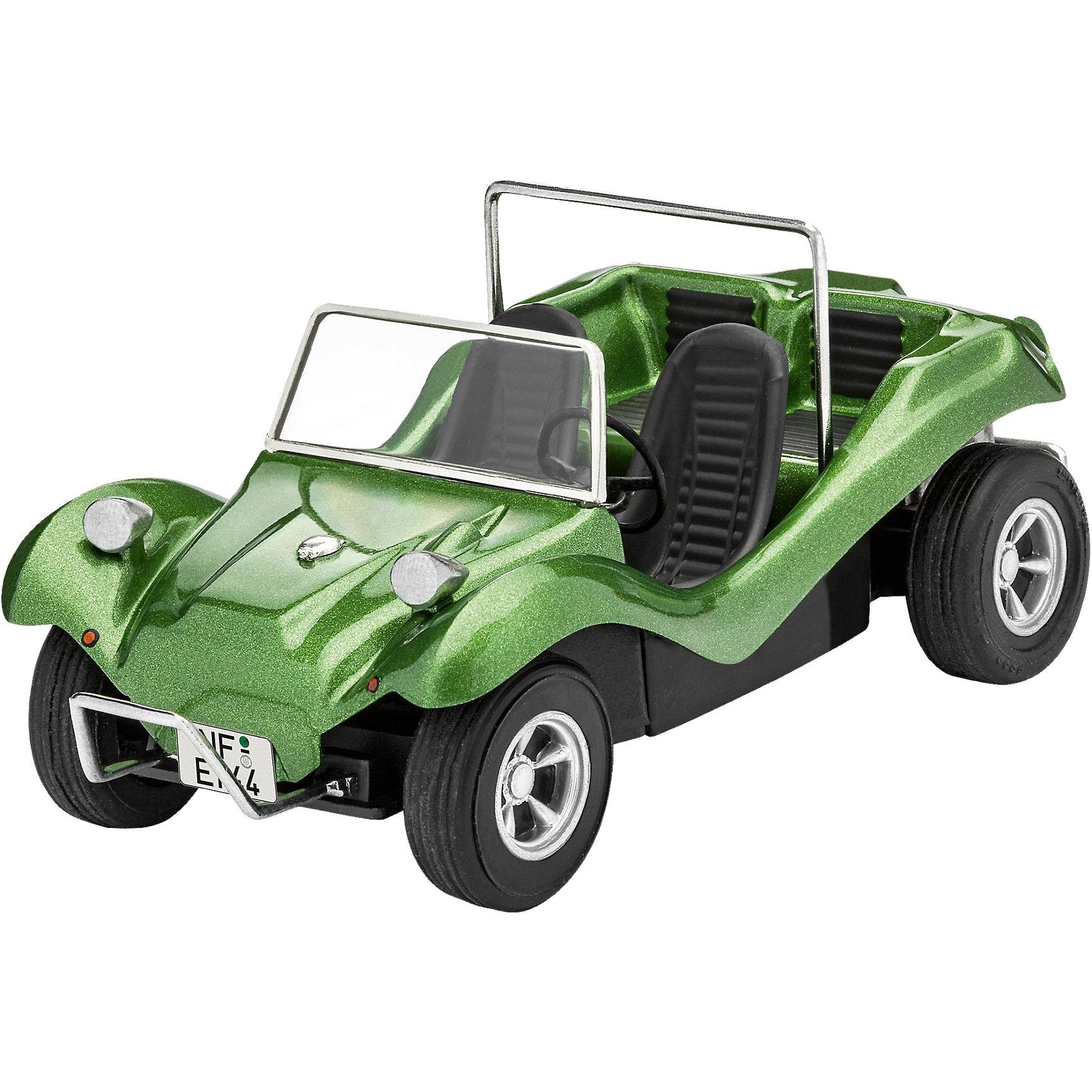 """Автомобиль VW BuggyМодели для склеивания<br>Сборная модель автомобиль VW Buggy в масштабе 1:32 от Revell. В прошлом году немецкая компания возродила линейку своих машинок в 32-ом масштабе и сегодня продолжает ее развивать. К уже выпущенным ранее автомобилям добавляется багги от Фольксвагена.  <br>Модель имеет облегченный процесс сборки и может быть собрана без клея – """"на щелчок"""".  Оси машины представлены в виде двух металлических штырьков, которые позволят колесам вращаться. Корпус машинки уже окрашен в базовый зеленый цвет.  <br>В наборе 22 детали для сборки и декали с символикой VW и номерными знаками ведущих европейский стран. <br>Для детей от 10 лет.<br><br>Ширина мм: 316<br>Глубина мм: 184<br>Высота мм: 50<br>Вес г: 152<br>Возраст от месяцев: 120<br>Возраст до месяцев: 168<br>Пол: Мужской<br>Возраст: Детский<br>SKU: 5311348"""