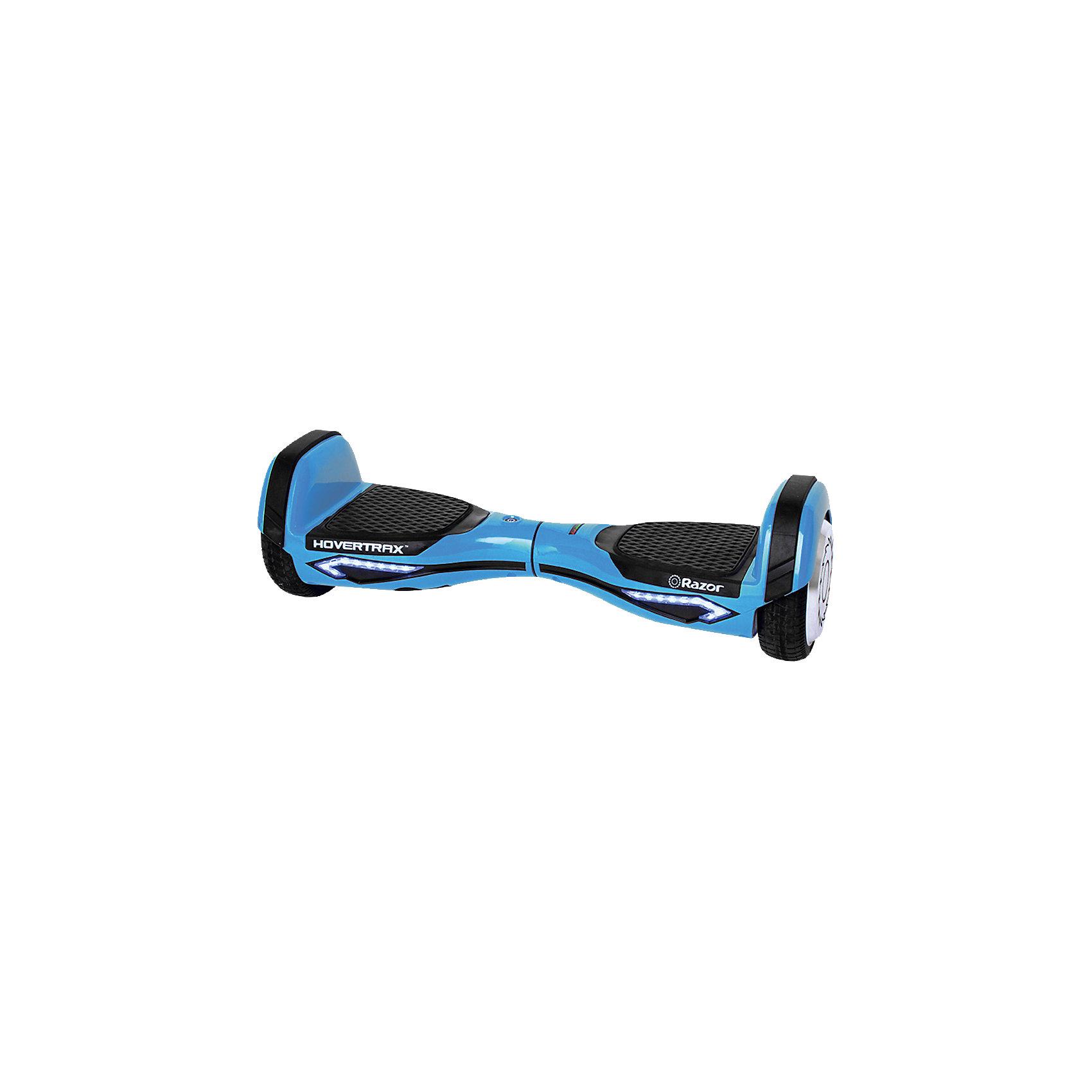 Гироскутер Hovertrax 2.0, синий, RazorГироскутеры<br>Гироскутер Razor Hovertrax 2.0 - синий (Рэзор)<br><br>Характеристики:<br><br>• встроенный компьютер<br>• встроенный гироскоп<br>• работает от электричества<br>• управляется ногами<br>• резиновые накладки<br>• светодиодная подсветка<br>• скорость до 13 км/ч<br>• максимальная нагрузка: 100 кг<br>• время работы - 2 часа<br>• три режима езды, включая обучающий<br>• индикатор уровня заряда аккумулятора<br>• мощность: 2х135 Вт<br>• аккумулятор литий-ионный на 36V, 2,5Ач<br>• цвет: синий<br>• размер упаковки: 24х23х64 см<br>• вес: 15 кг<br><br>Кататься на гироскутере очень весело! Достаточно только научиться им управлять. Гироскутер Hovertrax 2.0 управляется при помощи ног. Платформы имеют прорезиненные накладки. <br><br>Для движения вперед нужно нажать двумя носками на платформы. Для движения назад - пятками. Для поворота нужно сильнее нажать на переднюю часть нужной платформы. Гироскутер может стоять и крутиться на месте. Он оснащен встроенным компьютером и гироскопом, обеспечивающими баланс и стабилизацию. <br><br>Гироскутер имеет скорость до 13 км/ч. Максимальная нагрузка - 100 кг. Светодиодная подсветка гироскутера- приятное дополнение к стильному дизайну. Кнопка включения и индикатор заряда аккумулятора находятся сверху гироскутера.<br><br>Гироскутер Razor Hovertrax 2.0 - синий (Рэзор) вы можете купить в нашем интернет-магазине.<br><br>Ширина мм: 625<br>Глубина мм: 230<br>Высота мм: 225<br>Вес г: 11300<br>Цвет: синий<br>Возраст от месяцев: 144<br>Возраст до месяцев: 1188<br>Пол: Унисекс<br>Возраст: Детский<br>SKU: 5318585
