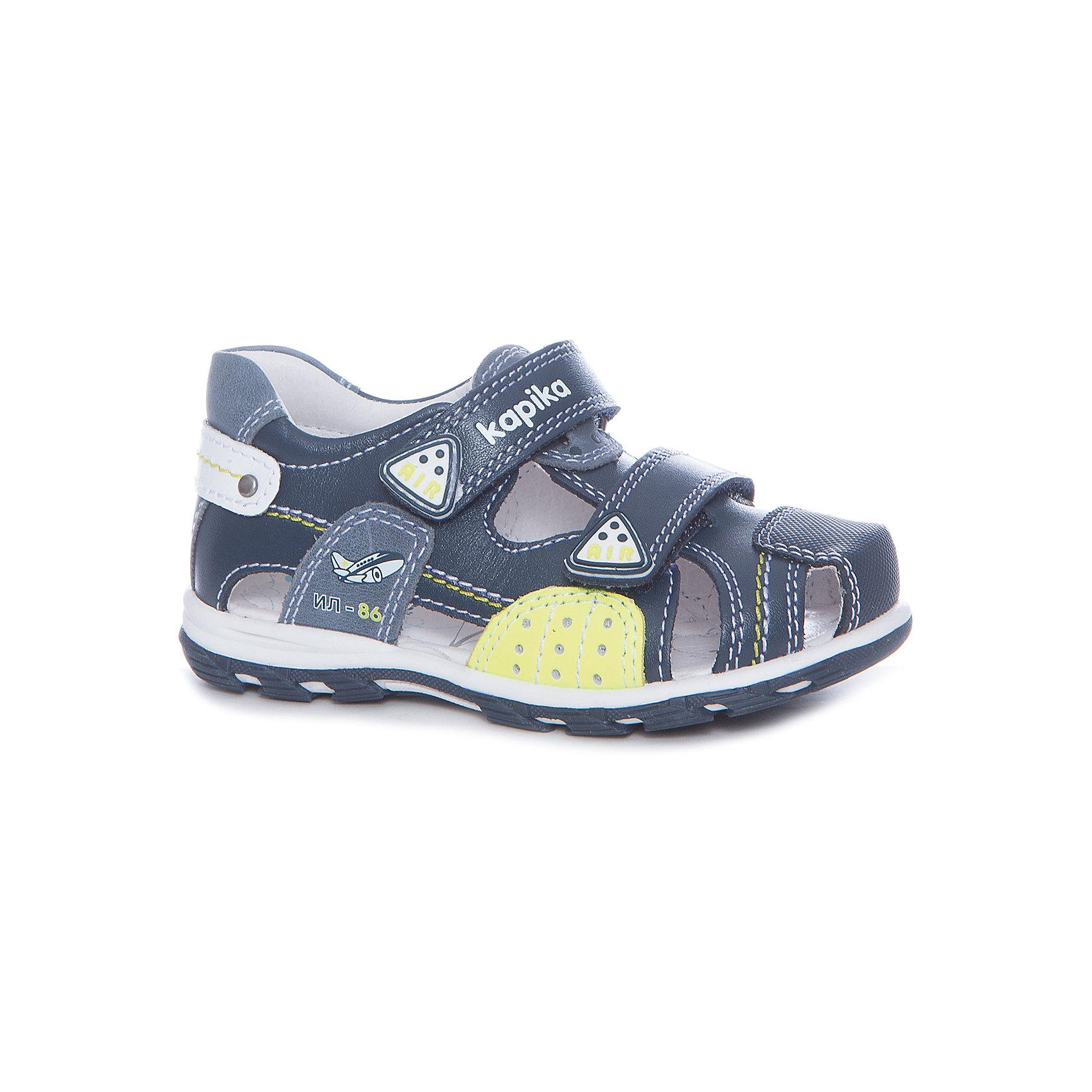Сандалии для мальчика KAPIKA, синиеСандалии<br>Характеристики товара:<br><br>• цвет: синий, салатовый<br>• анатомическая обувь<br>• внешний материал обуви: натуральная кожа<br>• внутренний материал: натуральная кожа<br>• стелька: натуральная кожа<br>• подошва: ТЭП<br>• тип сандалей: с закрытым мысом<br>• тип застежки: на липучке<br>• сезон: лето<br>• страна бренда: Россия<br>• страна изготовитель: Китай<br><br>Сандалии с закрытым мысом для мальчика от российского бренда Kapika (Капика) можно купить в нашем интернет-магазине.<br><br>Ширина мм: 227<br>Глубина мм: 145<br>Высота мм: 124<br>Вес г: 325<br>Цвет: синий/зеленый<br>Возраст от месяцев: 60<br>Возраст до месяцев: 72<br>Пол: Мужской<br>Возраст: Детский<br>Размер: 29,23,24,25,26,27,28<br>SKU: 5323720