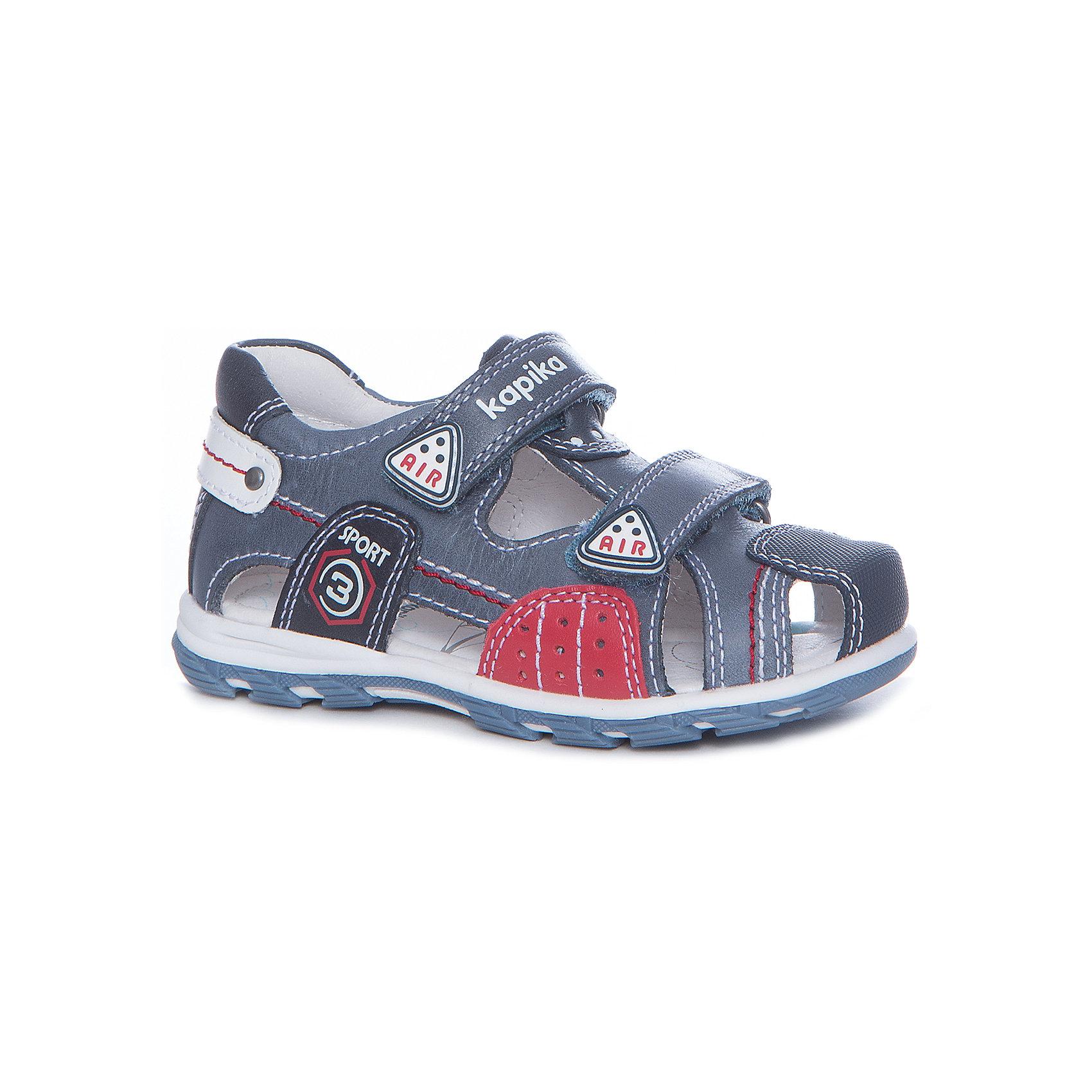 Сандалии для мальчика KAPIKA, синиеСандалии<br>Характеристики товара:<br><br>• цвет: синий, оранжевый<br>• анатомическая обувь<br>• внешний материал обуви: натуральная кожа<br>• внутренний материал: натуральная кожа<br>• стелька: натуральная кожа<br>• подошва: ТЭП<br>• тип сандалей: с закрытым мысом<br>• тип застежки: на липучке<br>• сезон: лето<br>• страна бренда: Россия<br>• страна изготовитель: Китай<br><br>Сандалии с закрытым мысом для мальчика от российского бренда Kapika (Капика) можно купить в нашем интернет-магазине.<br><br>Ширина мм: 227<br>Глубина мм: 145<br>Высота мм: 124<br>Вес г: 325<br>Цвет: синий<br>Возраст от месяцев: 18<br>Возраст до месяцев: 21<br>Пол: Мужской<br>Возраст: Детский<br>Размер: 23,29,26,24,25,27,28<br>SKU: 5323728