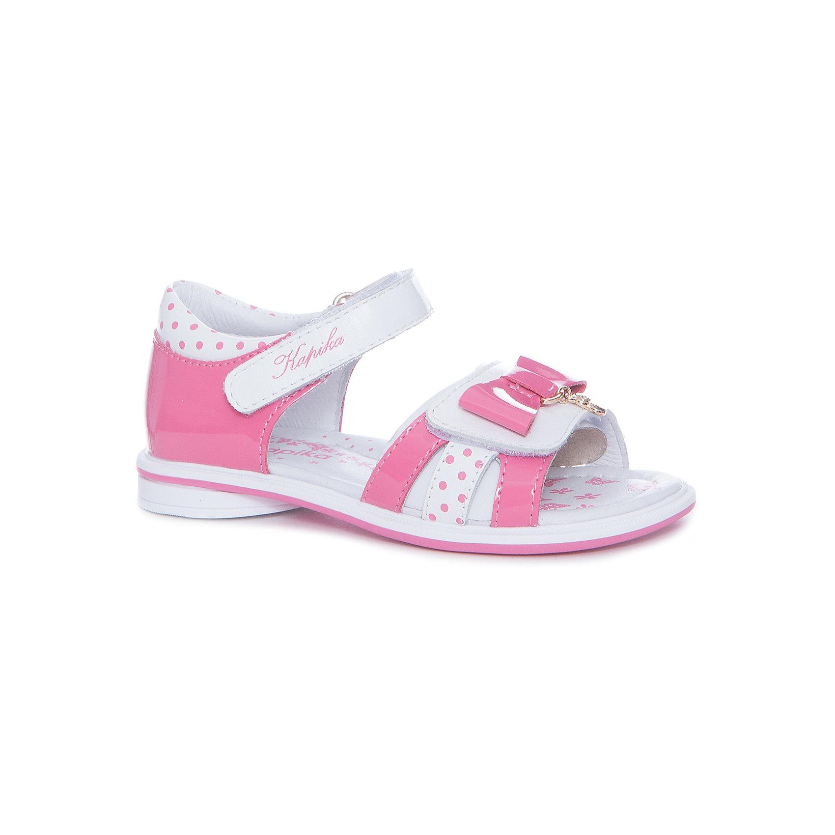Босоножки для девочки KAPIKA, розовыйСандалии<br>Характеристики товара:<br><br>• цвет: розовый, белый<br>• тип обуви: анатомическая<br>• внешний материал обуви: натуральная кожа<br>• внутренний материал: натуральная кожа<br>• стелька: натуральная кожа<br>• подошва: ТЭП<br>• с открытым мысом<br>• тип застежки: на липучке<br>• сезон: лето<br>• страна бренда: Россия<br>• страна изготовитель: Китай<br><br>Босоножки с открытым мысом для девочки от российского бренда Kapika (Капика) можно купить в нашем интернет-магазине.<br><br>Ширина мм: 227<br>Глубина мм: 145<br>Высота мм: 124<br>Вес г: 325<br>Цвет: бело-розовый<br>Возраст от месяцев: 60<br>Возраст до месяцев: 72<br>Пол: Женский<br>Возраст: Детский<br>Размер: 29,25,26,27,28<br>SKU: 5323783