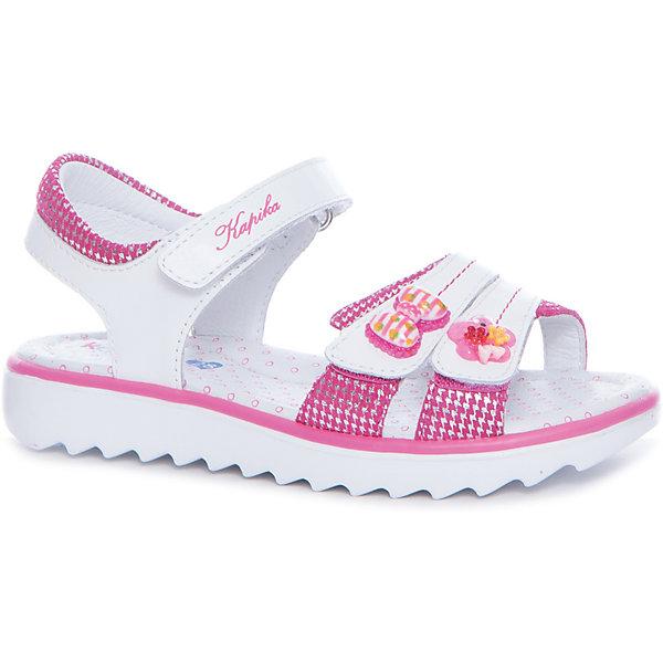 Босоножки  для девочки KAPIKA, розовыйБосоножки<br>Характеристики товара:<br><br>• цвет: розовый, белый<br>• тип обуви: анатомическая<br>• внешний материал обуви: натуральная кожа<br>• внутренний материал: натуральная кожа<br>• стелька: натуральная кожа<br>• подошва: ТЭП<br>• с открытым мысом и открытой пяткой<br>• тип застежки: на липучке<br>• сезон: лето<br>• страна бренда: Россия<br>• страна изготовитель: Китай<br><br>Босоножки с открытым мысом и пяткой для девочки от российского бренда Kapika (Капика) можно купить в нашем интернет-магазине.<br>Ширина мм: 227; Глубина мм: 145; Высота мм: 124; Вес г: 325; Цвет: розовый/белый; Возраст от месяцев: 48; Возраст до месяцев: 60; Пол: Женский; Возраст: Детский; Размер: 33,32,31,30,29,28; SKU: 5323801;