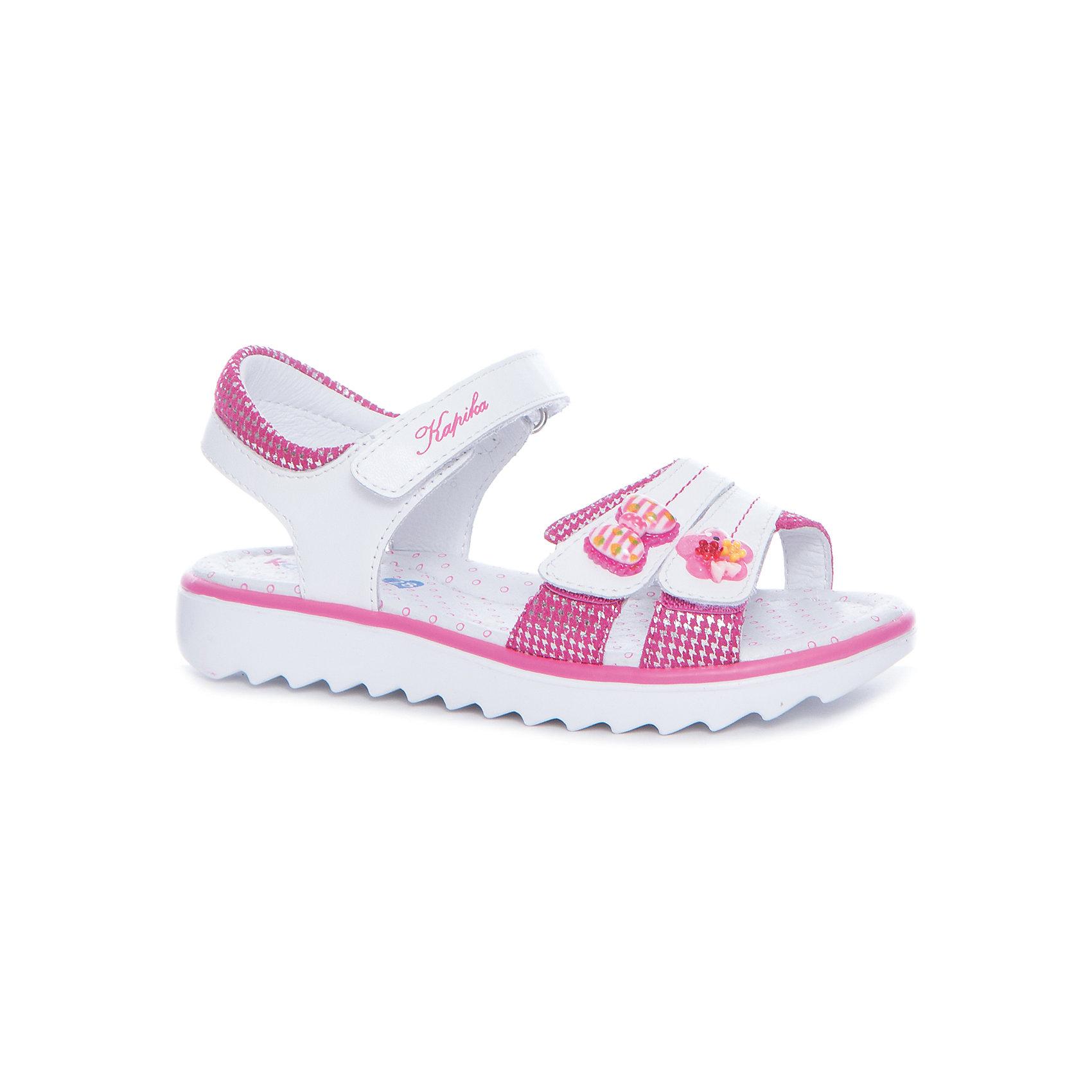 Босоножки  для девочки KAPIKA, розовыйБосоножки<br>Характеристики товара:<br><br>• цвет: розовый, белый<br>• тип обуви: анатомическая<br>• внешний материал обуви: натуральная кожа<br>• внутренний материал: натуральная кожа<br>• стелька: натуральная кожа<br>• подошва: ТЭП<br>• с открытым мысом и открытой пяткой<br>• тип застежки: на липучке<br>• сезон: лето<br>• страна бренда: Россия<br>• страна изготовитель: Китай<br><br>Босоножки с открытым мысом и пяткой для девочки от российского бренда Kapika (Капика) можно купить в нашем интернет-магазине.<br><br>Ширина мм: 227<br>Глубина мм: 145<br>Высота мм: 124<br>Вес г: 325<br>Цвет: розовый/белый<br>Возраст от месяцев: 108<br>Возраст до месяцев: 120<br>Пол: Женский<br>Возраст: Детский<br>Размер: 33,28,29,30,31,32<br>SKU: 5323801