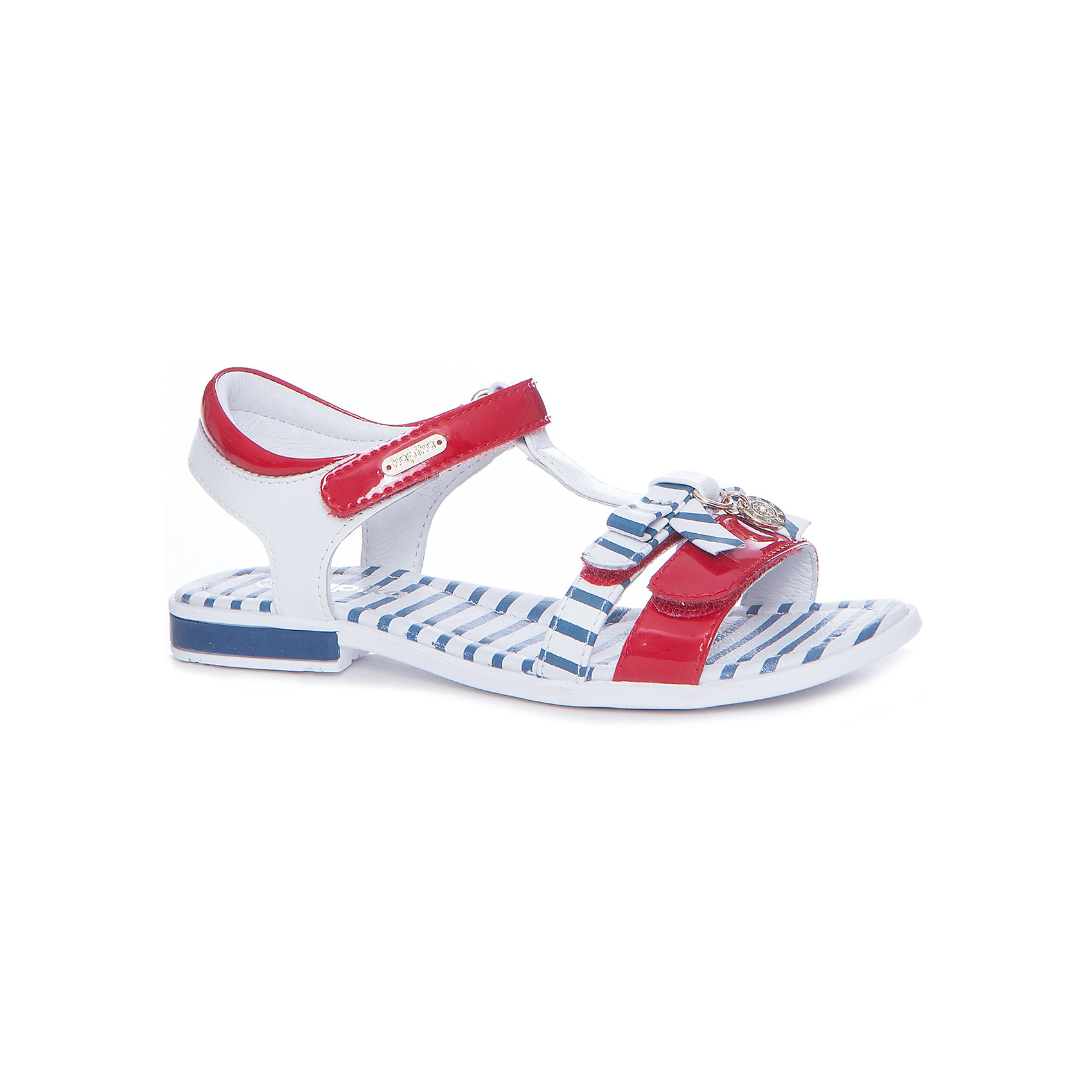 Босоножки для девочки KAPIKA, красный, синий в полоскуБосоножки<br>Характеристики товара:<br><br>• цвет: красный, синий в полоску<br>• тип обуви: анатомическая<br>• внешний материал обуви: натуральная кожа, экокожа<br>• внутренний материал: натуральная кожа<br>• стелька: натуральная кожа<br>• подошва: ТЭП<br>• с открытым мысом и открытой пяткой<br>• тип застежки: на липучке<br>• сезон: лето<br>• страна бренда: Россия<br>• страна изготовитель: Китай<br><br>Босоножки для девочки от российского бренда Kapika (Капика) можно купить в нашем интернет-магазине.<br><br>Ширина мм: 227<br>Глубина мм: 145<br>Высота мм: 124<br>Вес г: 325<br>Цвет: белый<br>Возраст от месяцев: 144<br>Возраст до месяцев: 156<br>Пол: Женский<br>Возраст: Детский<br>Размер: 36,30,31,32,33,34,35<br>SKU: 5323879