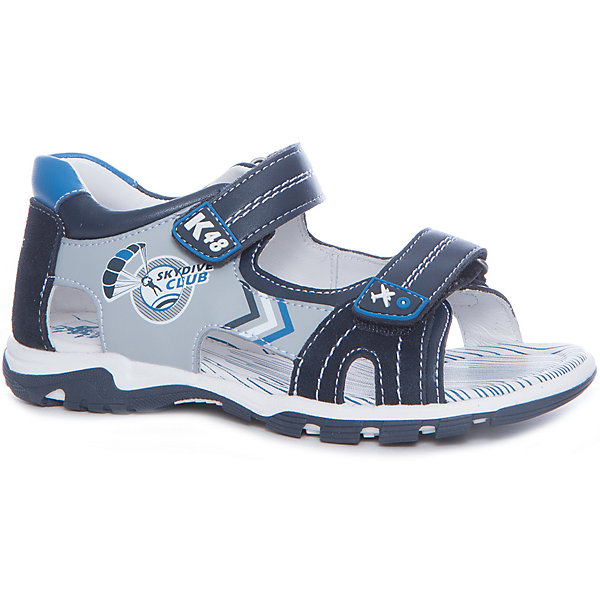 Сандалии для мальчика KAPIKA, синий, серыйСандалии<br>Характеристики товара:<br><br>• цвет: синий, серый<br>• тип сандалей: анатомические<br>• внешний материал обуви: натуральная кожа, экокожа<br>• внутренний материал: натуральная кожа<br>• стелька: натуральная кожа<br>• подошва: ТЭП<br>• с открытым мысом<br>• тип застежки: на липучке<br>• сезон: лето<br>• страна бренда: Россия<br>• страна изготовитель: Китай<br><br>Сандалии открытые для мальчика от российского бренда Kapika (Капика) можно купить в нашем интернет-магазине.<br><br>Ширина мм: 227<br>Глубина мм: 145<br>Высота мм: 124<br>Вес г: 325<br>Цвет: сине-серый<br>Возраст от месяцев: 108<br>Возраст до месяцев: 120<br>Пол: Мужской<br>Возраст: Детский<br>Размер: 33,30,32,31<br>SKU: 5323946